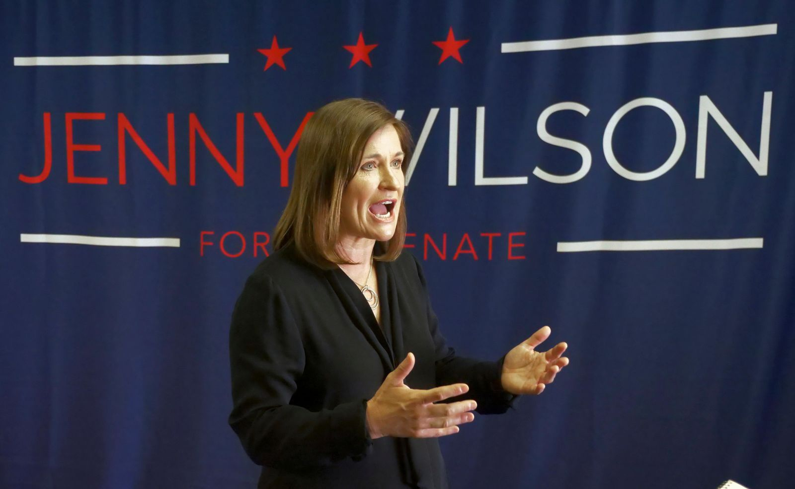 FILE - In this June 27, 2018, file photo, Democratic Senate candidate Jenny Wilson speaks during an interview, in Salt Lake City. Mitt Romney's opponent, Wilson, also is working the phones and canvassing for her party's slate. She has criticized Romney's Arizona appearance in recent weeks to stump for Republican candidate Martha McSally, as evidence that he's more focused on national politics. (AP Photo/Rick Bowmer, File)