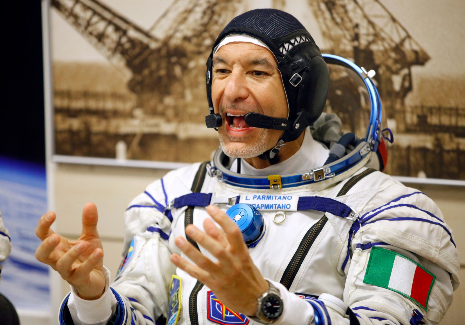 Italian astronaut Luca Parmitano, member of the main crew of the expedition to the International Space Station (ISS), gestures prior to the launch of Soyuz MS-13 space ship at the Russian leased Baikonur cosmodrome, Kazakhstan, Saturday, July 20, 2019. (AP Photo/Dmitri Lovetsky)