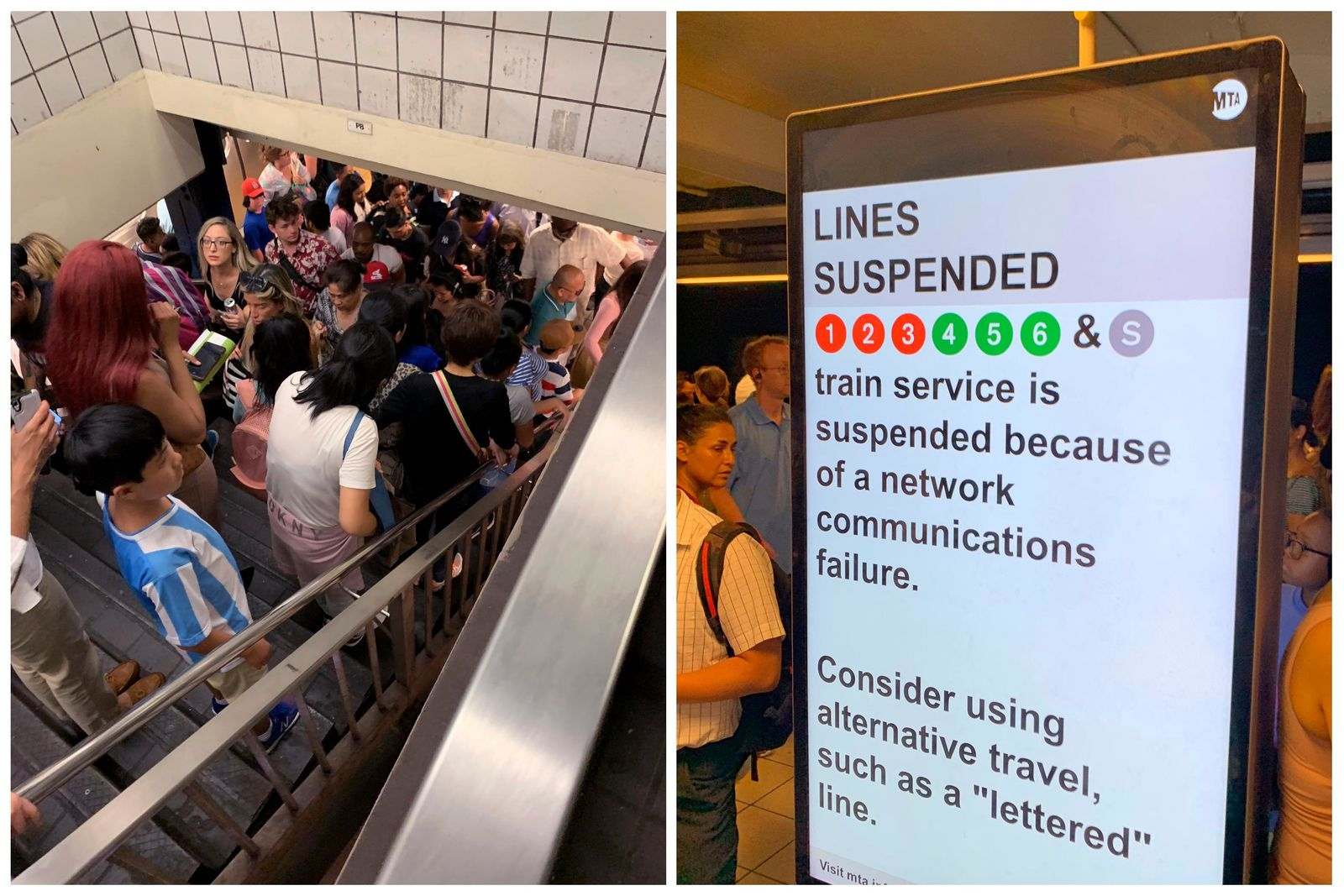In this photo combo of images provided by Kenneth Ferrone, commuters fill the stairs and line the platform at a New York City subway station, at left, and a digital sign on a New York City subway platform warns commuters of a service disruption on several lines, Friday, July 19, 2019, in New York. (Kenneth Ferrone via AP)