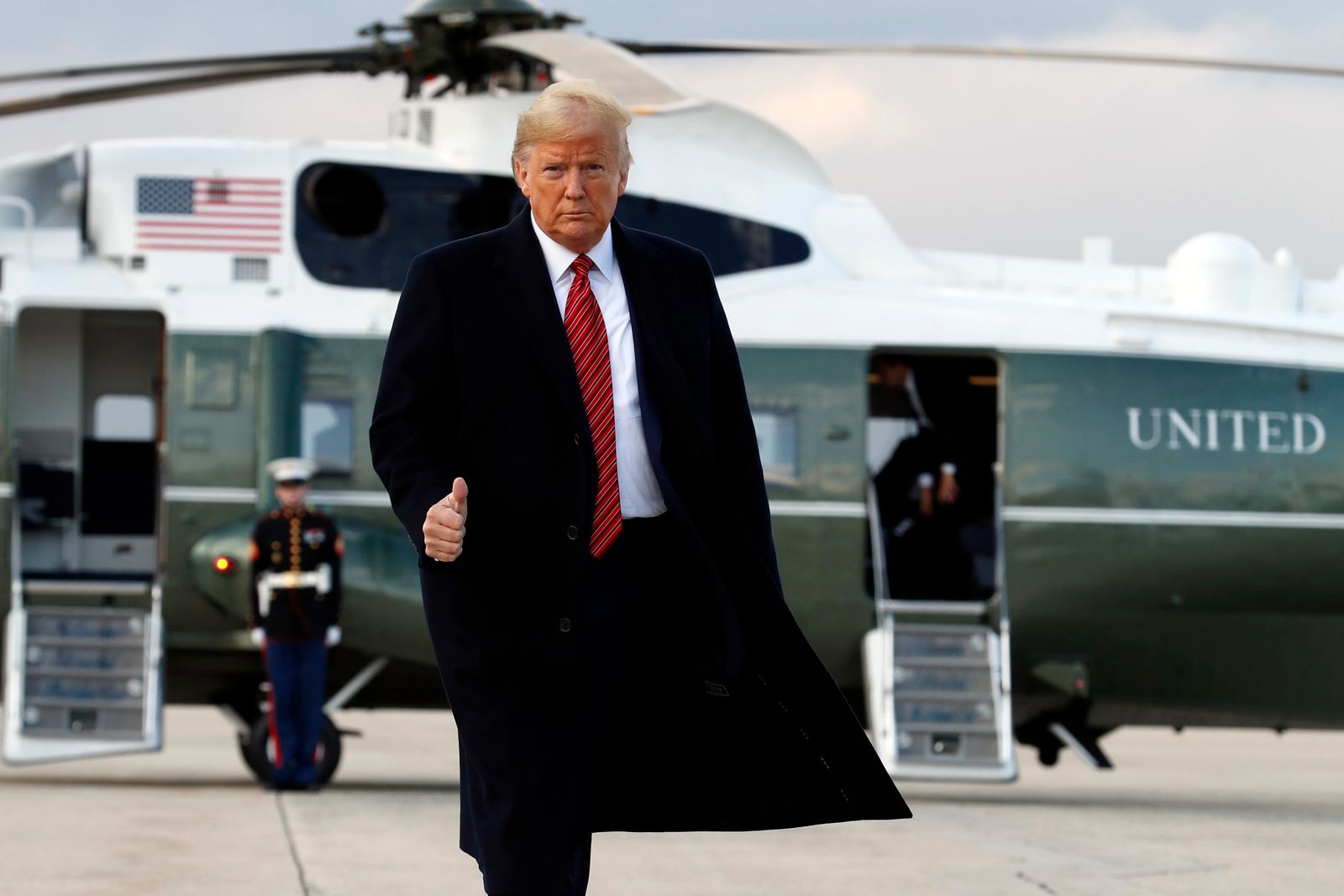 President Donald Trump boards Air Force One from Andrews Air Force Base, Md., Friday Feb. 28, 2020, en route to North Charleston, S.C., for a campaign rally. (AP Photo/Jacquelyn Martin)