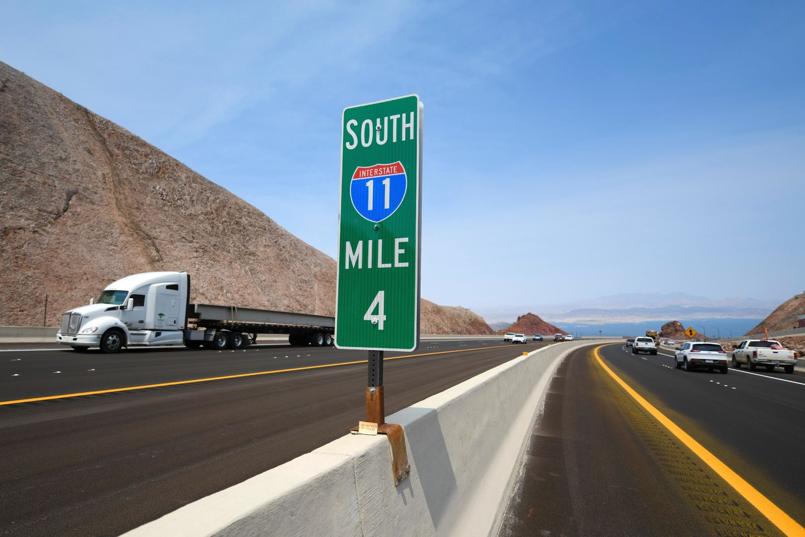 Traffic travels on Interstate 11 after the grand opening of a new section of the highway Thursday, August 9, 2018, in Boulder City. The section, also referred to as the Boulder City Bypass, marks the official start of the I-11 project between Las Vegas and Phoenix. CREDIT: Sam Morris/Las Vegas News Bureau