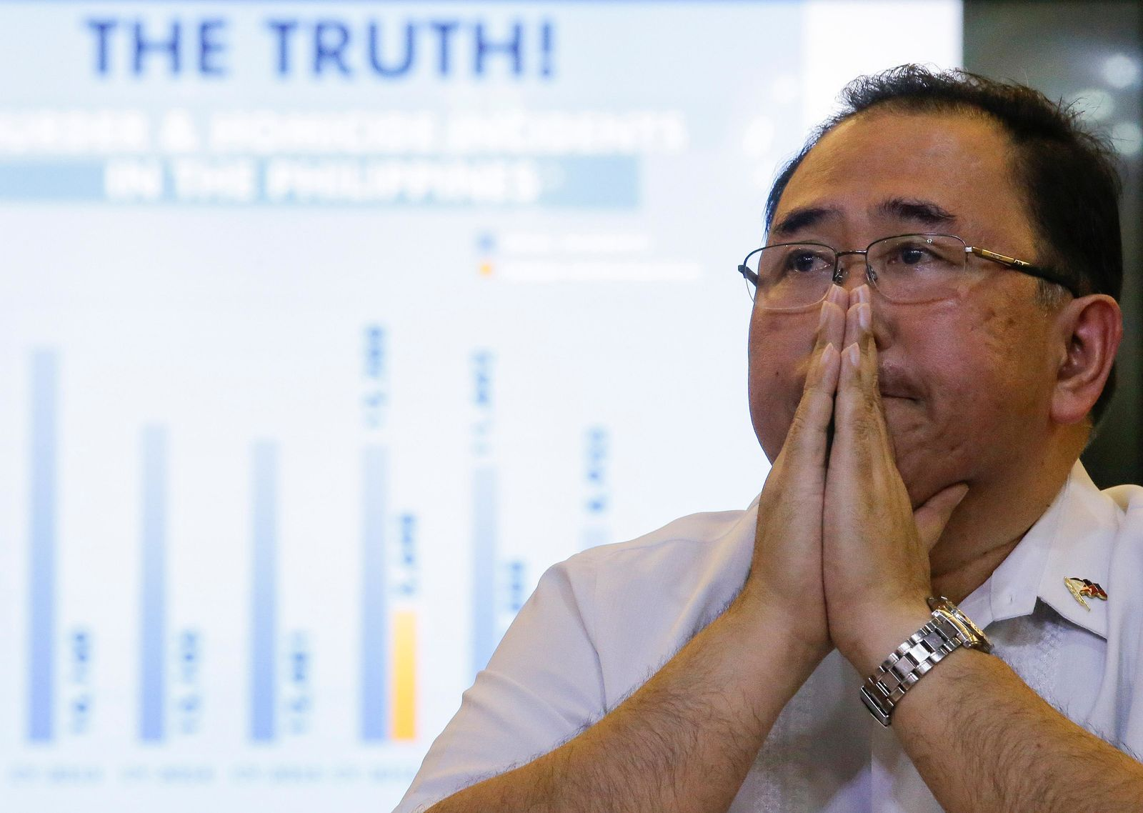 Undersecretary Severo Catura, executive director of the Presidential Human Rights Committee secretariat, gestures as he listens to questions from reporters during a news conference in metropolitan Manila, Philippines, Thursday, July 18, 2019. (AP Photo/Aaron Favila)