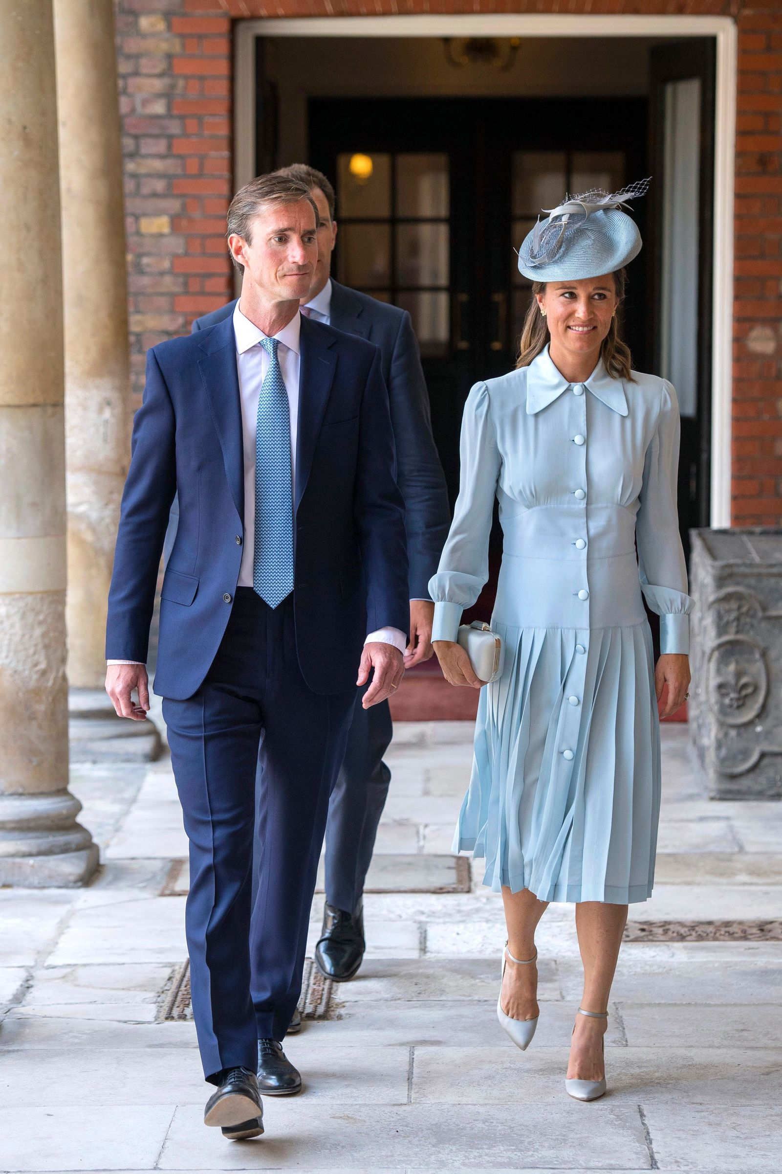 Pippa Middleton and her husband James Matthews arrive for the christening service of Prince Louis at the Chapel Royal, St James's Palace, London, Monday, July 9, 2018. (Dominic Lipinski/Pool Photo via AP)