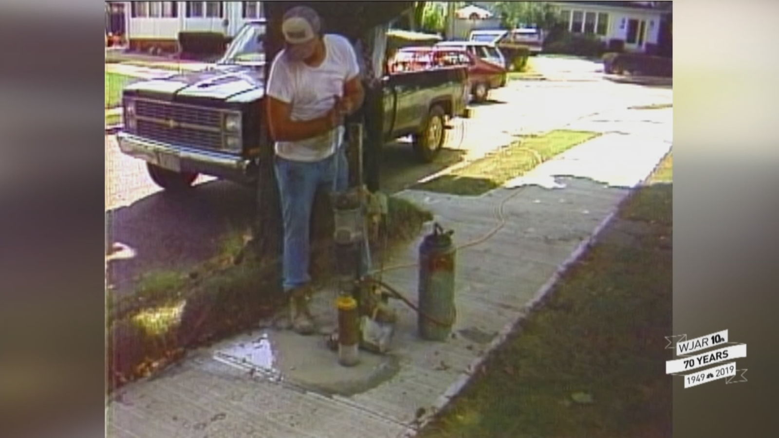 Investigators drilled concrete out of sidewalks to check its thickness during a corruption investigation in the 1980s. (WJAR)