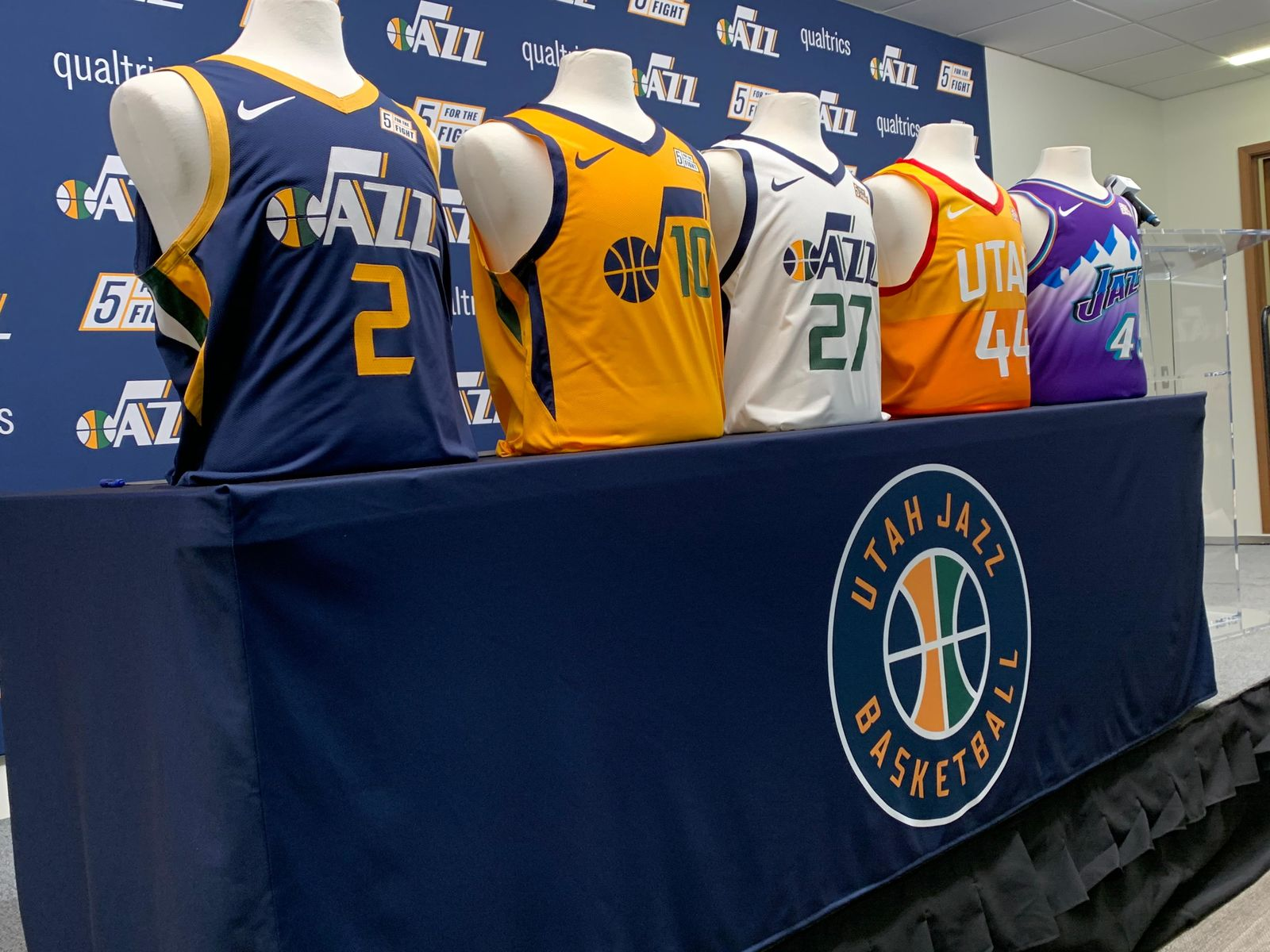 Five Utah Jazz jerseys in honor of Five for the Fight. (Photo: Adam Forgie, KUTV)<p></p>