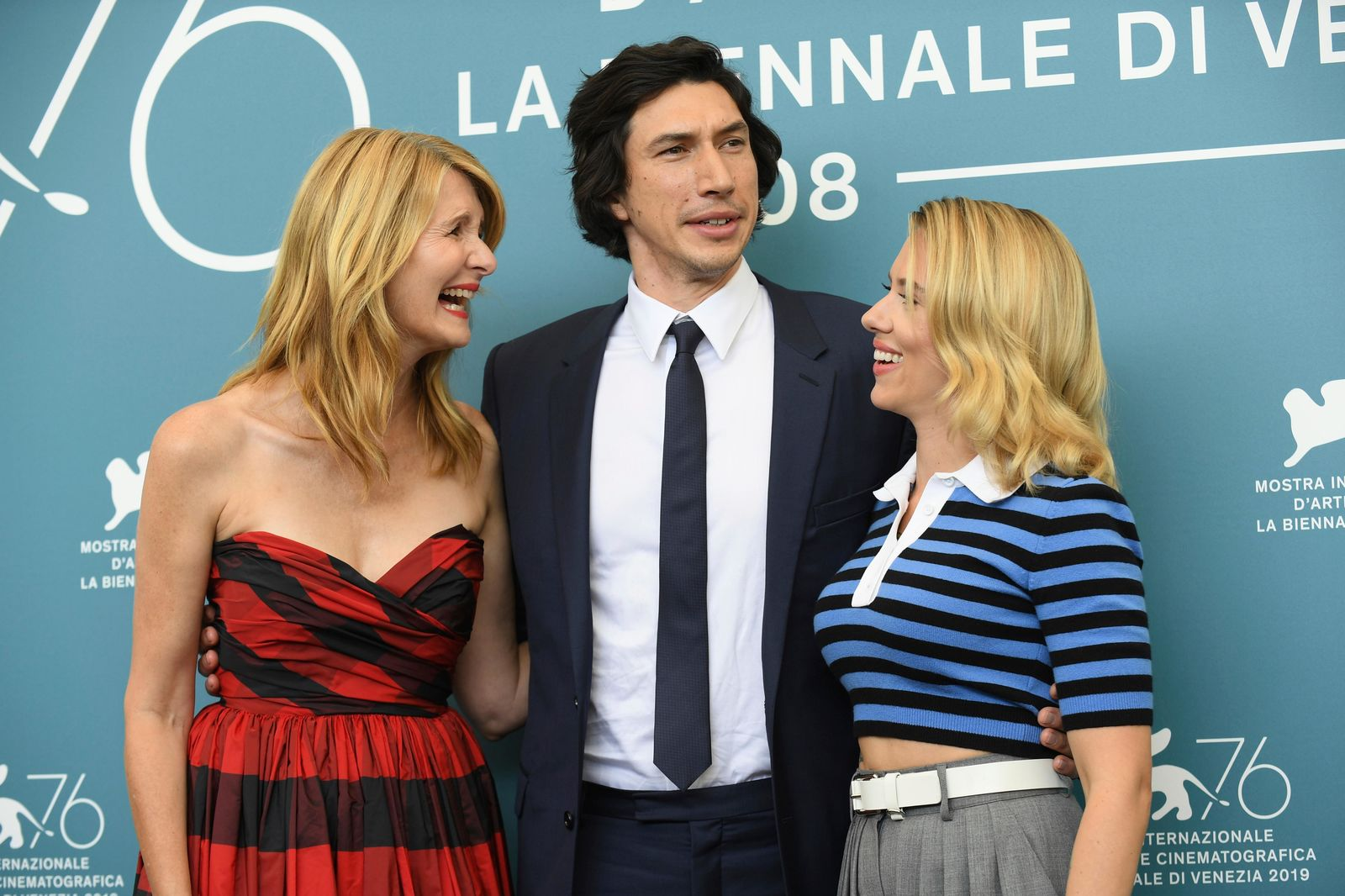 Actors Laura Dern, from left, Adam Driver and Scarlett Johansson pose for photographers at the photo call for the film 'Marriage Story' at the 76th edition of the Venice Film Festival in Venice, Italy, Thursday, Aug. 29, 2019. (Photo by Arthur Mola/Invision/AP)