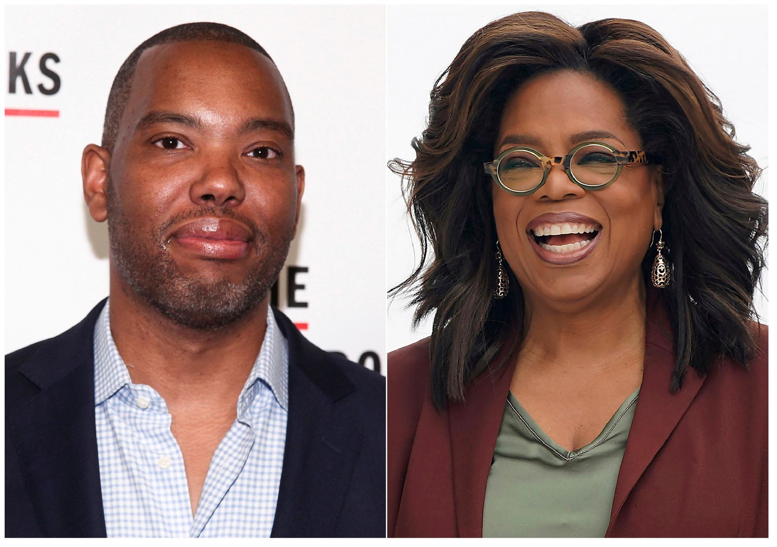 This combination photo shows author Ta-Nehisi Coates at the The Gordon Parks Foundation Annual Awards Gala in New York on May 22, 2018, left, and Oprah Winfrey at an event to announce new Apple products in Cupertino, Calif. on March 25, 2019.{ } (AP Photo)