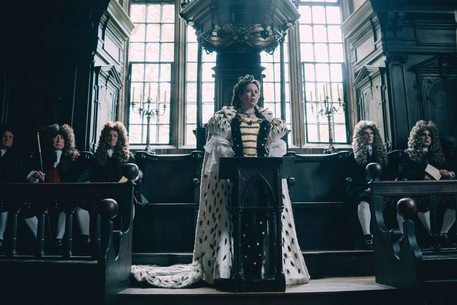 "This image released by Fox Searchlight Films shows Olivia Colman in a scene from the film ""The Favourite."" The film is nominated for an Oscar for best picture. The 91st Academy Awards will be held on Sunday. (Atsushi Nishijima/Fox Searchlight Films via AP)"