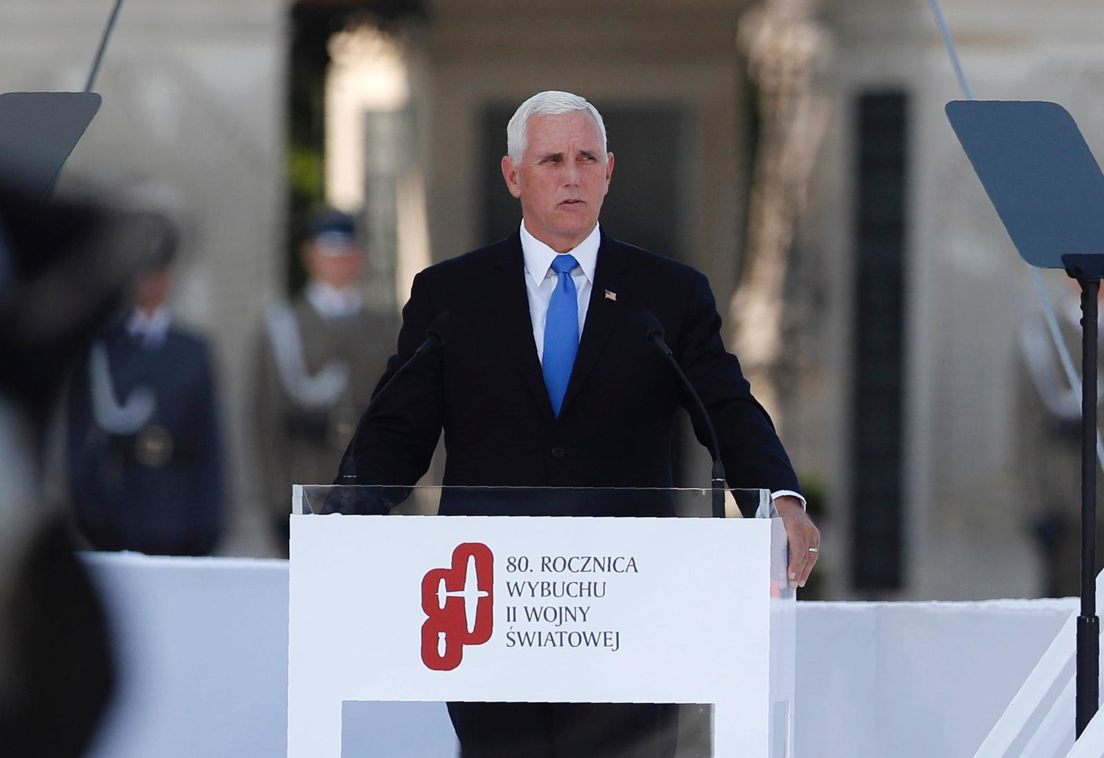 U.S. Vice President Mike Pence speaks during a memorial ceremony marking the 80th anniversary of the start of World War II in Warsaw, Poland, Sunday, Sept. 1, 2019. (AP Photo/Petr David Josek)