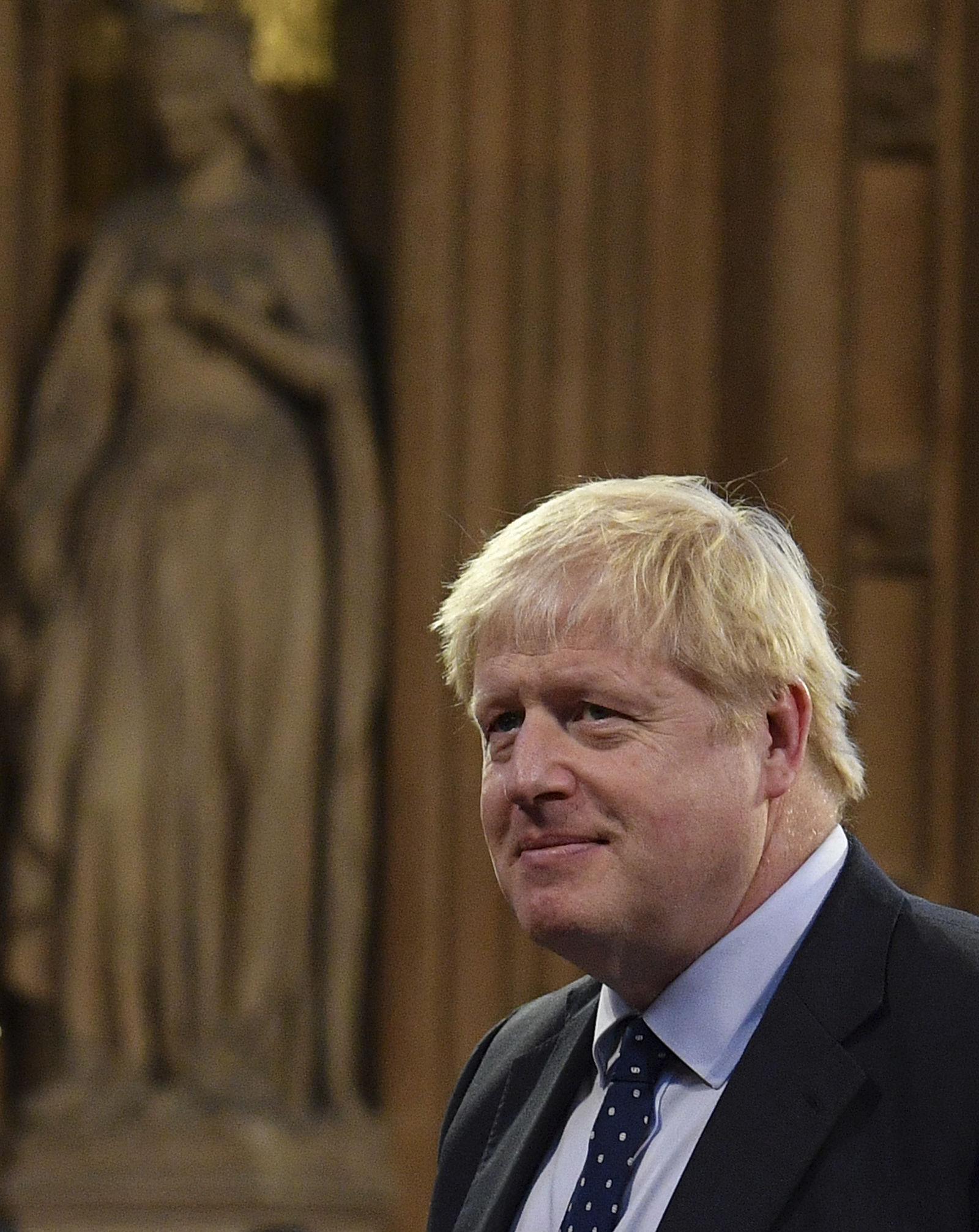 Britain's Prime Minister Boris Johnson attends the official State Opening of Parliament in London, Monday Oct. 14, 2019. (Daniel Leal-Olivas/Pool via AP)