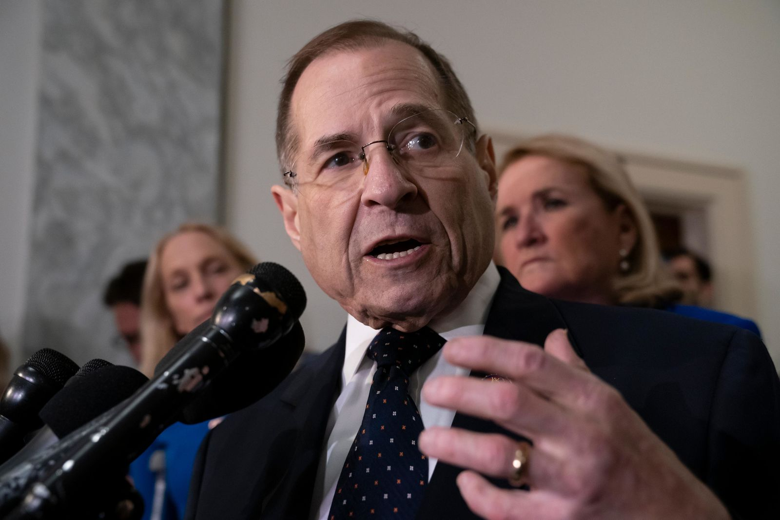 House Judiciary Committee Chairman Jerrold Nadler, D-N.Y., talks to reporters after leading his Democratic majority to vote to hold Attorney General William Barr in contempt of Congress, escalating the legal battle with the Trump administration over access to special counsel Robert Mueller's report, on Capitol Hill in Washington, Wednesday, May 8, 2019. The committee voted 24-16 to hold Barr in contempt after the Justice Department rejected House Democrats' demands for the full Mueller report and the underlying evidence. (AP Photo/J. Scott Applewhite)