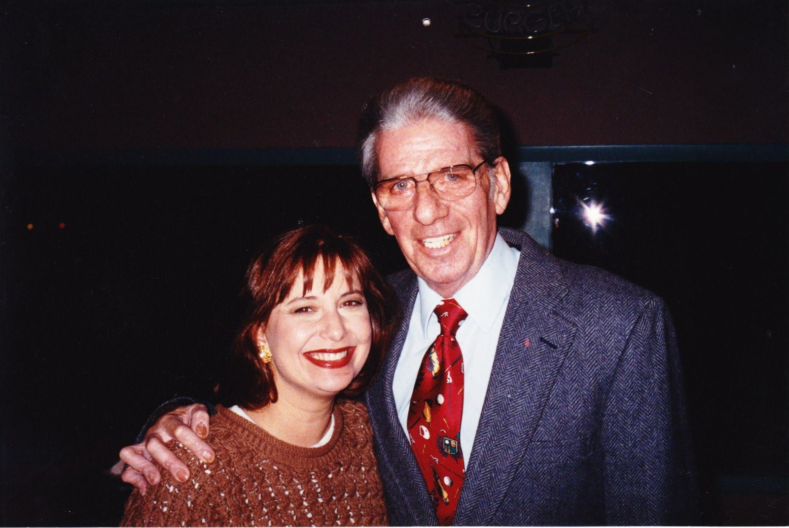 Kim Block with former WGME Sportcaster Frank Fixaris (WGME)