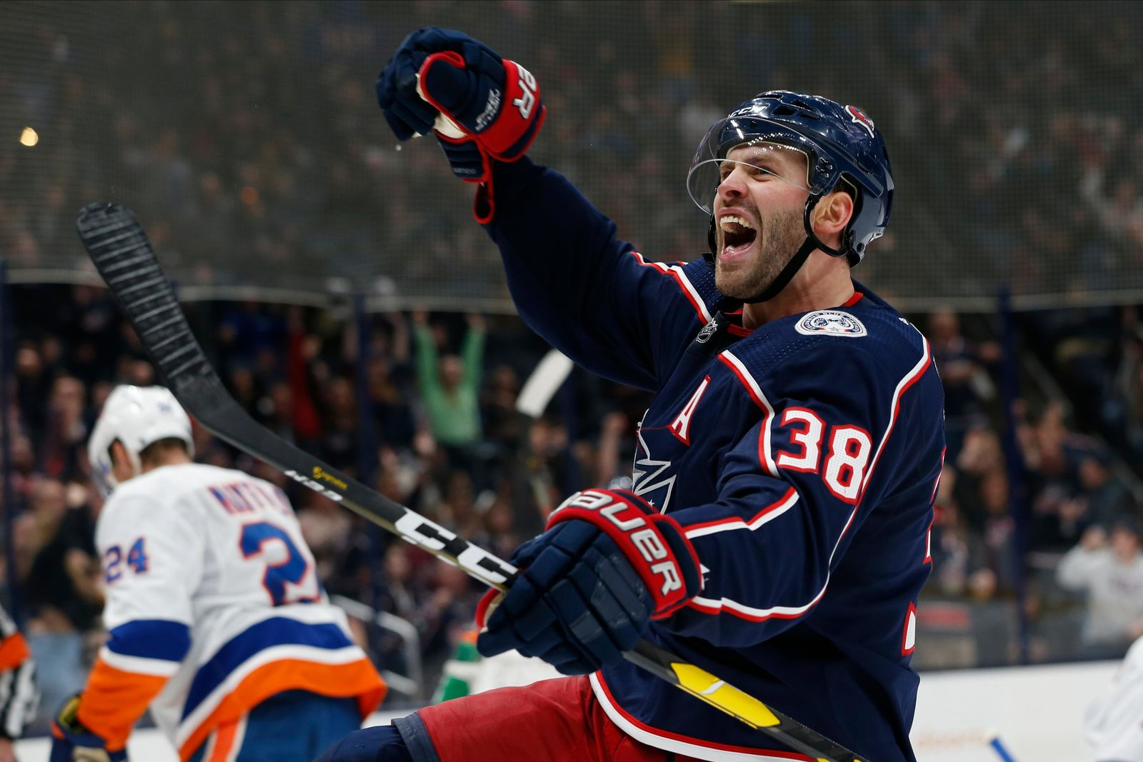 Columbus Blue Jackets' Boone Jenner celebrates his goal against the New York Islanders during the second period of an NHL hockey game Saturday, Oct. 19, 2019, in Columbus, Ohio. (AP Photo/Jay LaPrete)