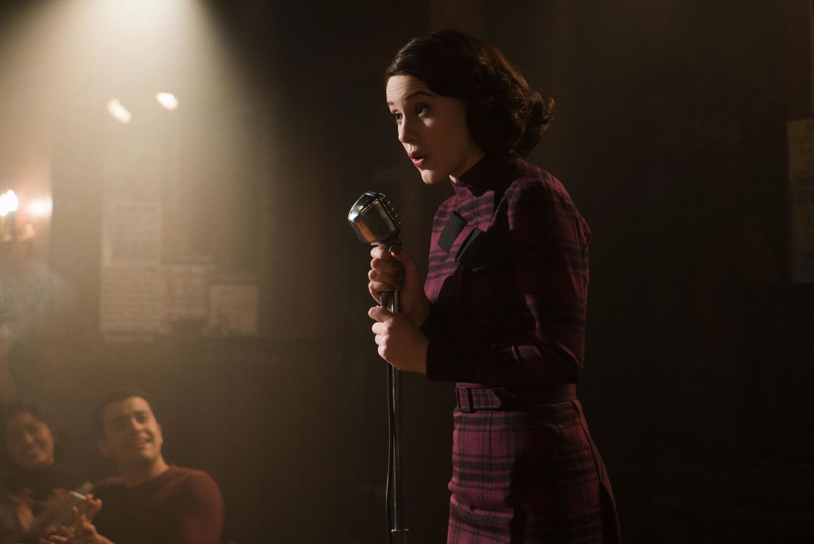 "This image released by Amazon shows Rachel Brosnahan as Midge Maisel in ""The Marvelous Mrs. Maisel."" On Tuesday, July 16, 2019, the program was nominated for an Emmy Award for outstanding comedy series. (Nicole Rivelli/Amazon via AP)"