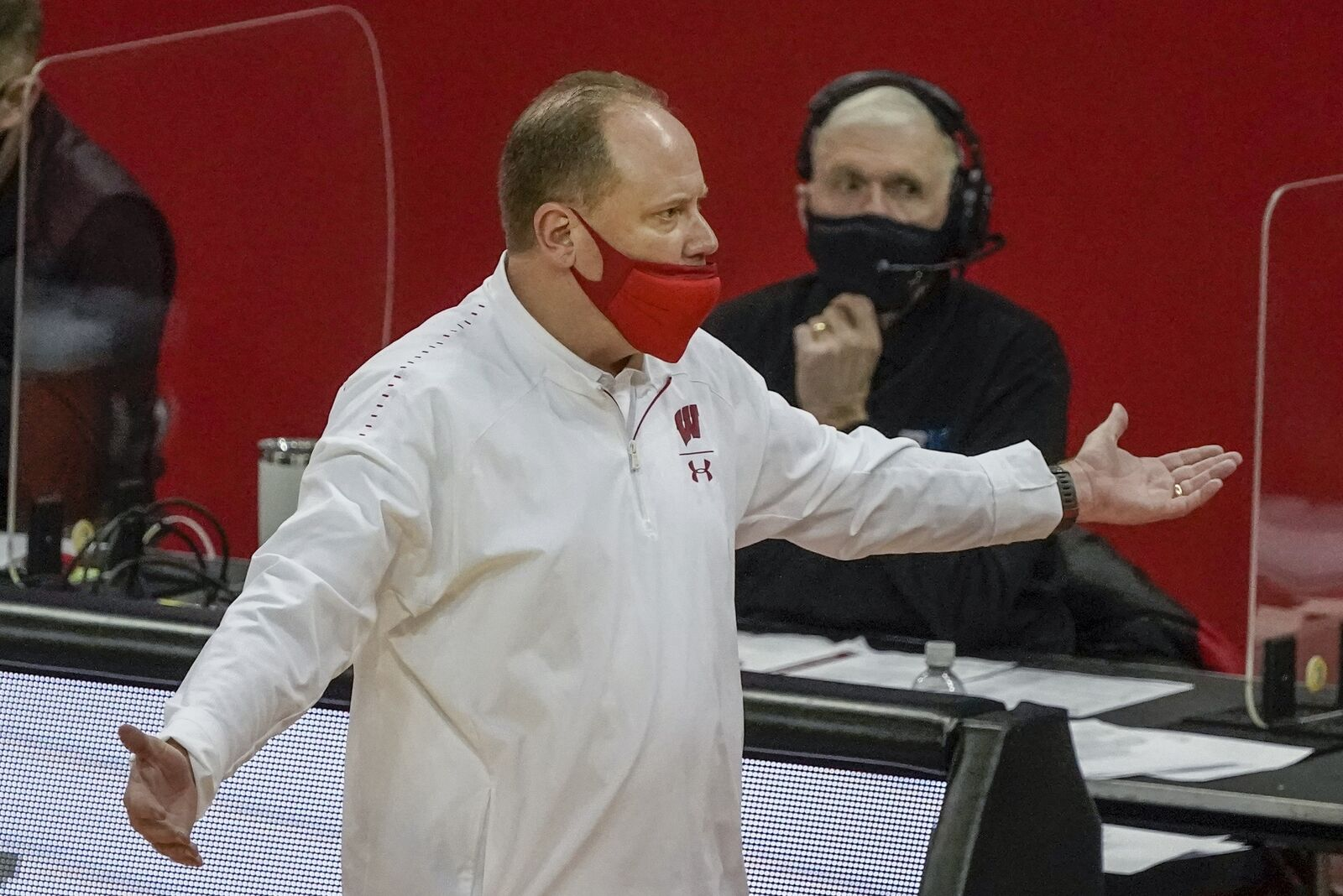 Wisconsin head coach Greg Gard reacts during the second half of an NCAA college basketball game against Northwestern Wednesday, Jan. 20, 2021, in Madison, Wis. (AP Photo/Morry Gash)