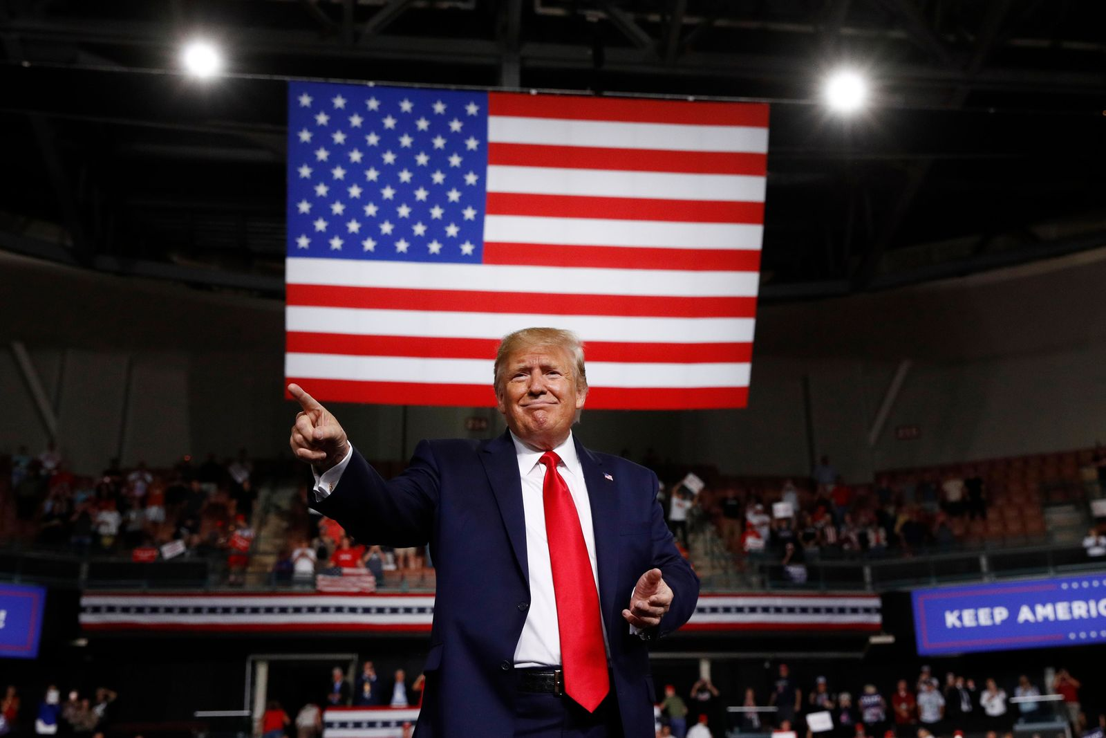 President Donald Trump reacts at the end of his speech at a campaign rally, Thursday, Aug. 15, 2019, in Manchester, N.H. (AP Photo/Patrick Semansky)