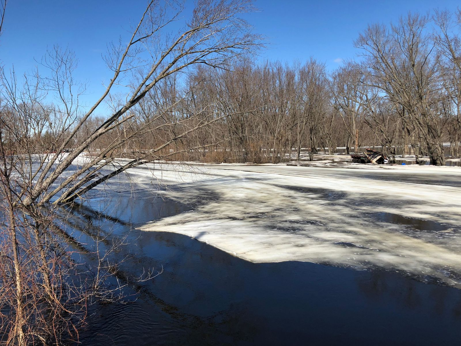 Ice recedes on the Wolf River in Shiocton March 22, 2019. (WLUK/Eric Peterson)