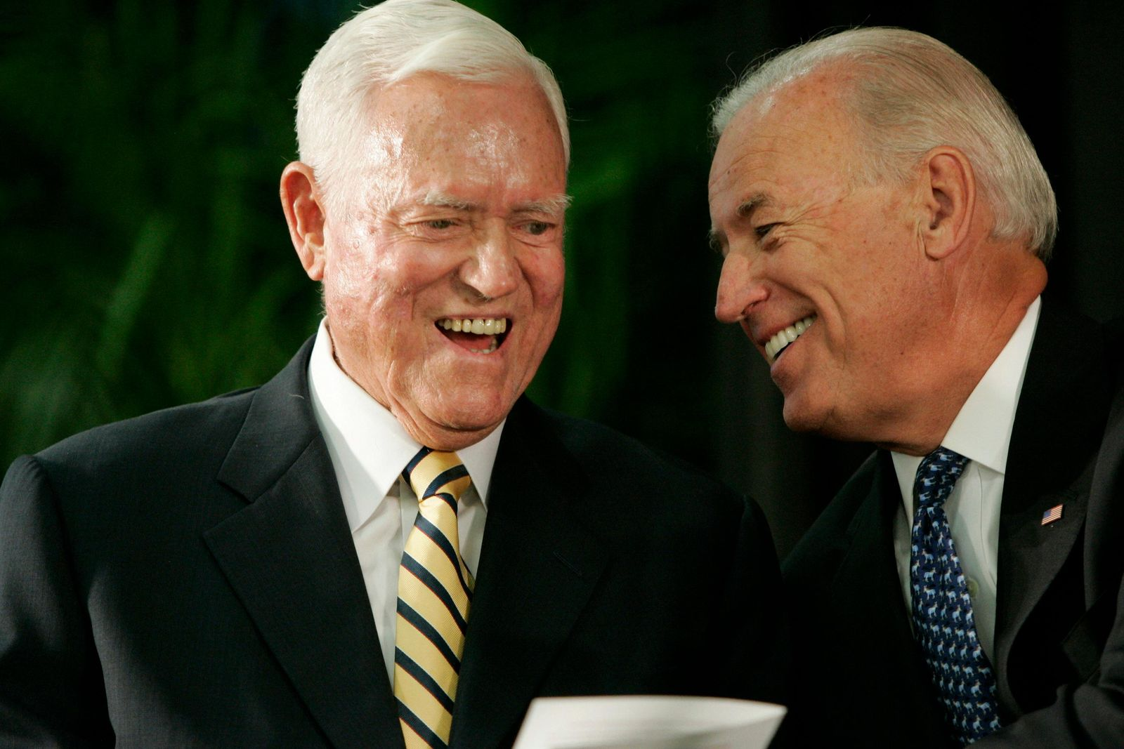 FILE - In this Friday, July 23, 2010, file photo, Vice President Joe Biden chats with former U.S. Sen. Ernest Fritz Hollings during the dedication ceremony of the new Ernest F. Hollings Special Collections Library in Columbia, S.C.{ } (AP Photo/Mary Ann Chastain, File)