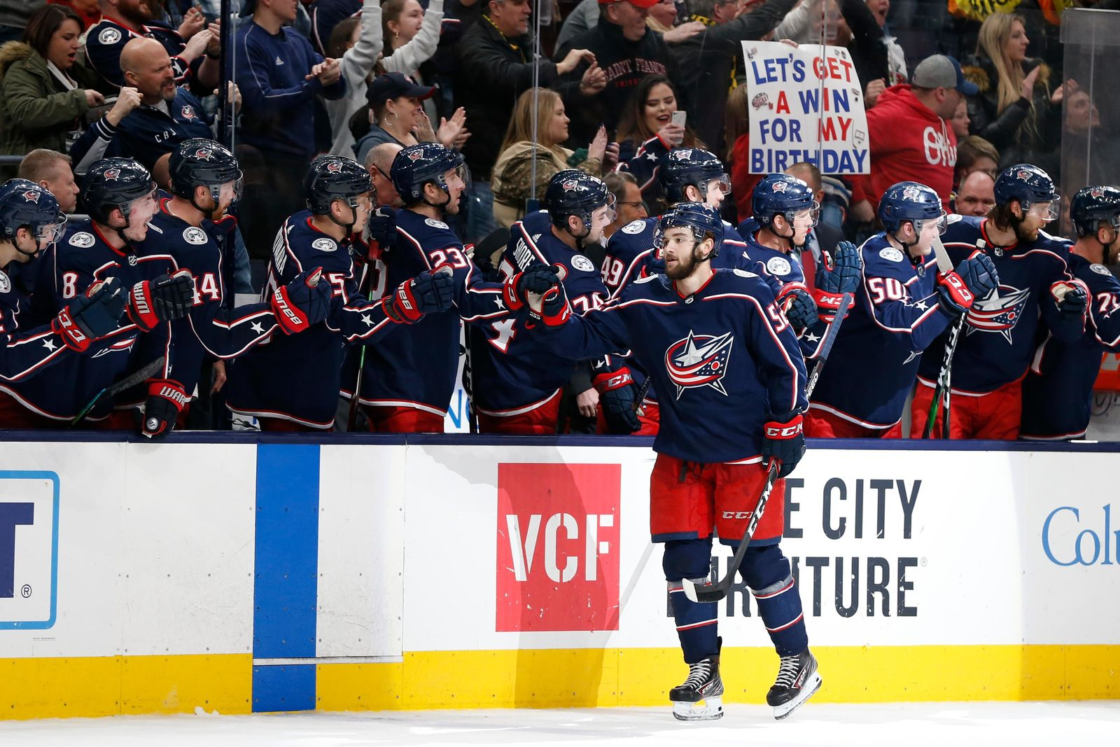 Columbus Blue Jackets' Emil Bemstrom, of Sweden, celebrates his goal against the Vancouver Canucks during the third period of an NHL hockey game Sunday, March 1, 2020, in Columbus, Ohio. The Blue Jackets defeated the Canucks 5-3. (AP Photo/Jay LaPrete)