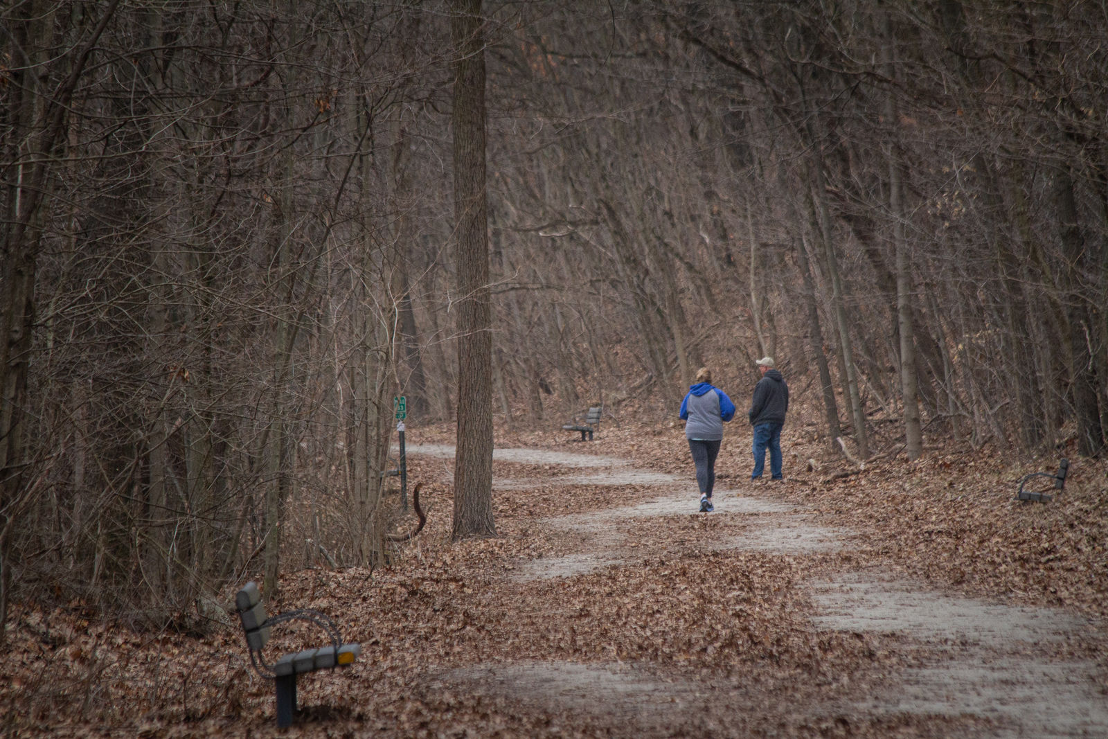 Kalamazoo residents run on the Kal-Haven Trail at Kal-Haven State Park in Kalamazoo on Wednesday, March 25.{ }(WWMT/Sarah White)