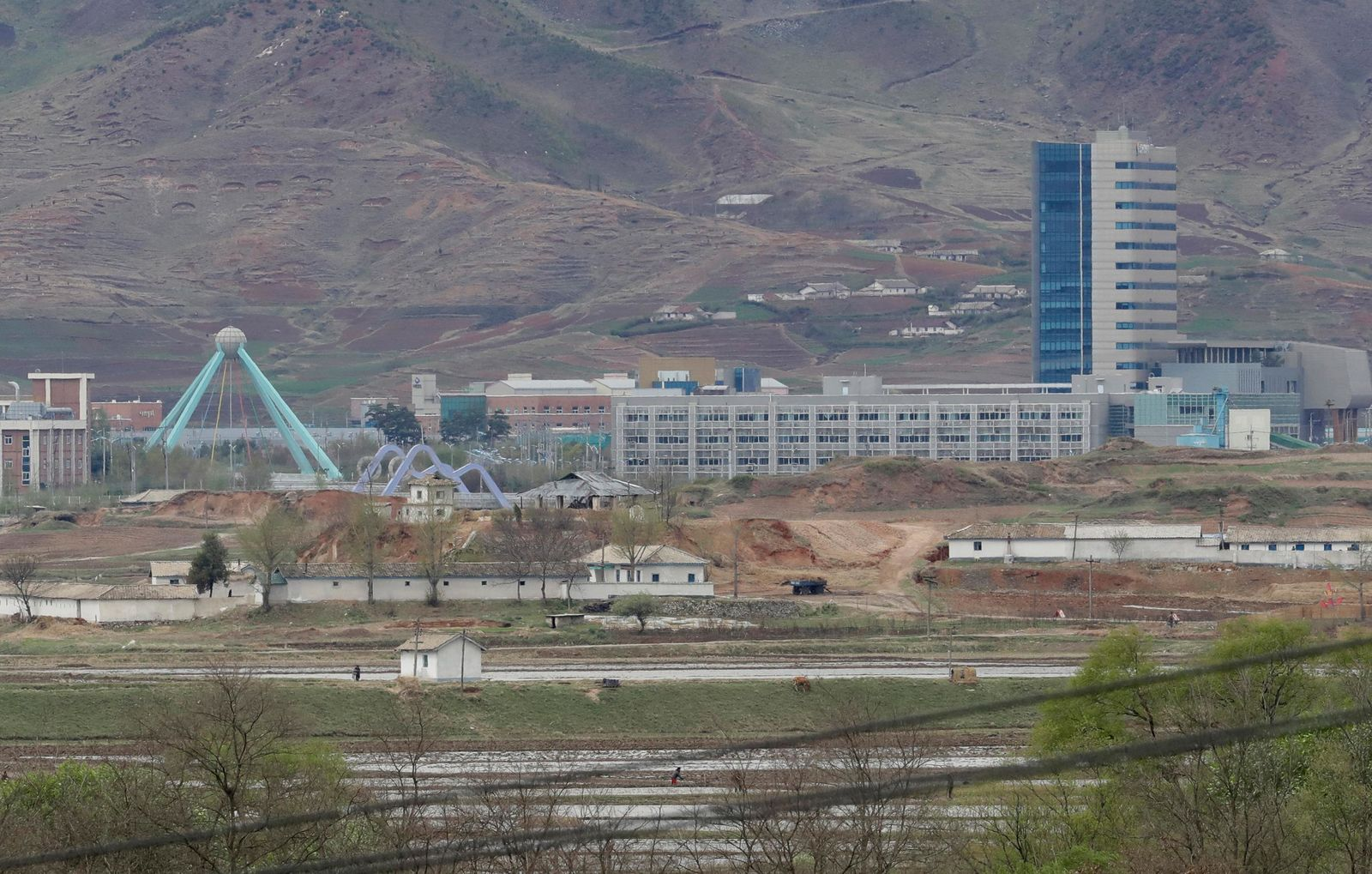 FILE - In this April 24, 2018, file photo, the Kaesong industrial complex in North Korea is seen from the Taesungdong freedom village inside the demilitarized zone during a press tour in Paju, South Korea. (AP Photo/Lee Jin-man, File)