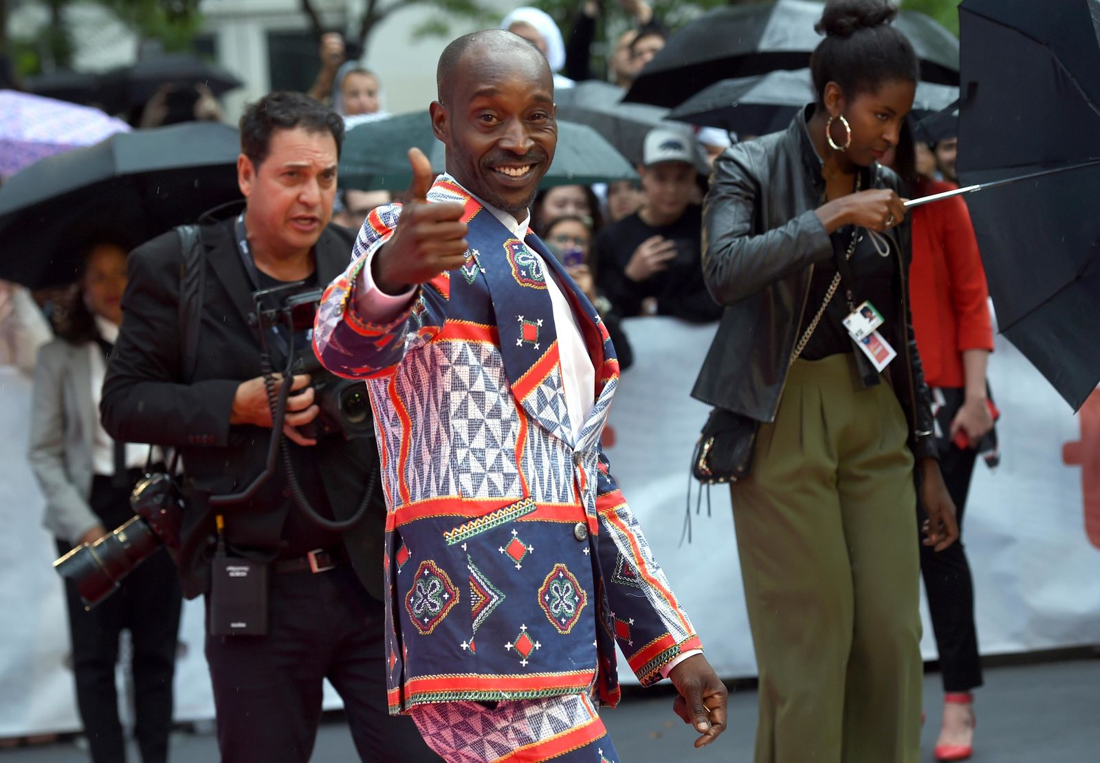 "Rob Morgan gestures as he attends the premiere for ""Just Mercy"" on day two of the Toronto International Film Festival at the Roy Thomson Hall on Friday, Sept. 6, 2019, in Toronto. (Photo by Chris Pizzello/Invision/AP)"
