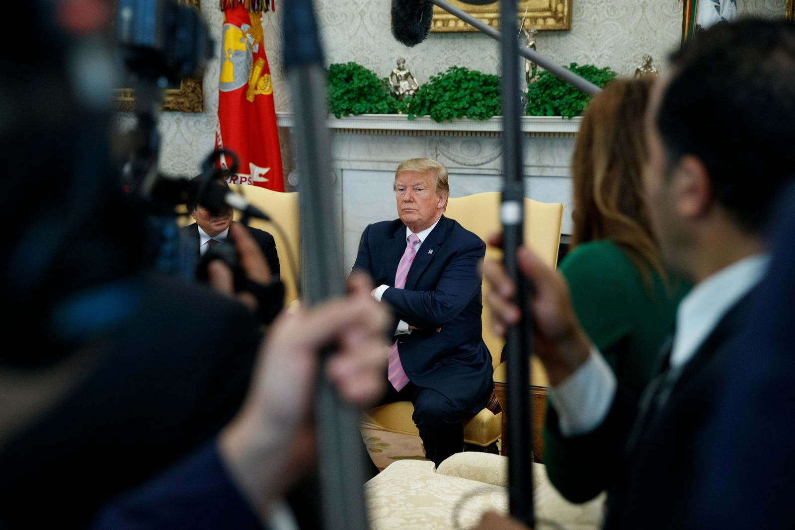 President Donald Trump pauses as he speaks during a meeting with Egyptian President Abdel Fattah el-Sisi in the Oval Office of the White House, Tuesday, April 9, 2019, in Washington. (AP Photo/Evan Vucci)