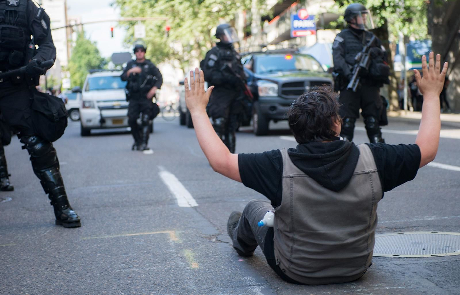 A 'Trump Free Speech Rally' in Portland's Terry Schrunk Plaza was surrounded by several groups staging counter-protests Sunday, ending in at least 14 arrests and prompting police to close the adjacent Chapman Square. (KATU photo taken June 4, 2017 by Tristan Fortsch)