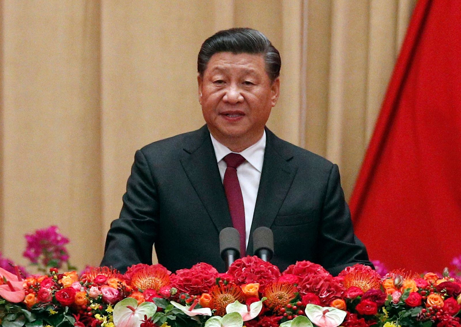 FILE - In this Sept. 30, 2019, file photo, Chinese President Xi Jinping speaks at a dinner marking the 70th anniversary of the founding of the People's Republic of China at the Great Hall of the People in Beijing. (AP Photo/Andy Wong, File)