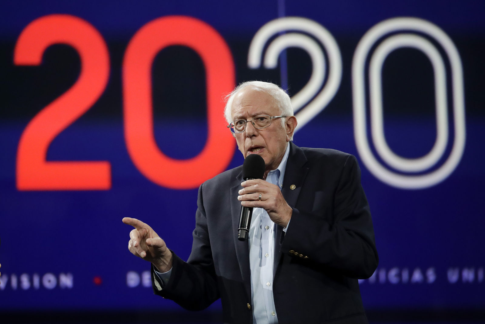 FILE- In this Nov. 16, 2019, photo Democratic presidential candidate Sen.{ }Bernie Sanders, I-Vt., speaks during a presidential forum at the California Democratic Party's convention in Long Beach, Calif. (AP Photo/Chris Carlson)