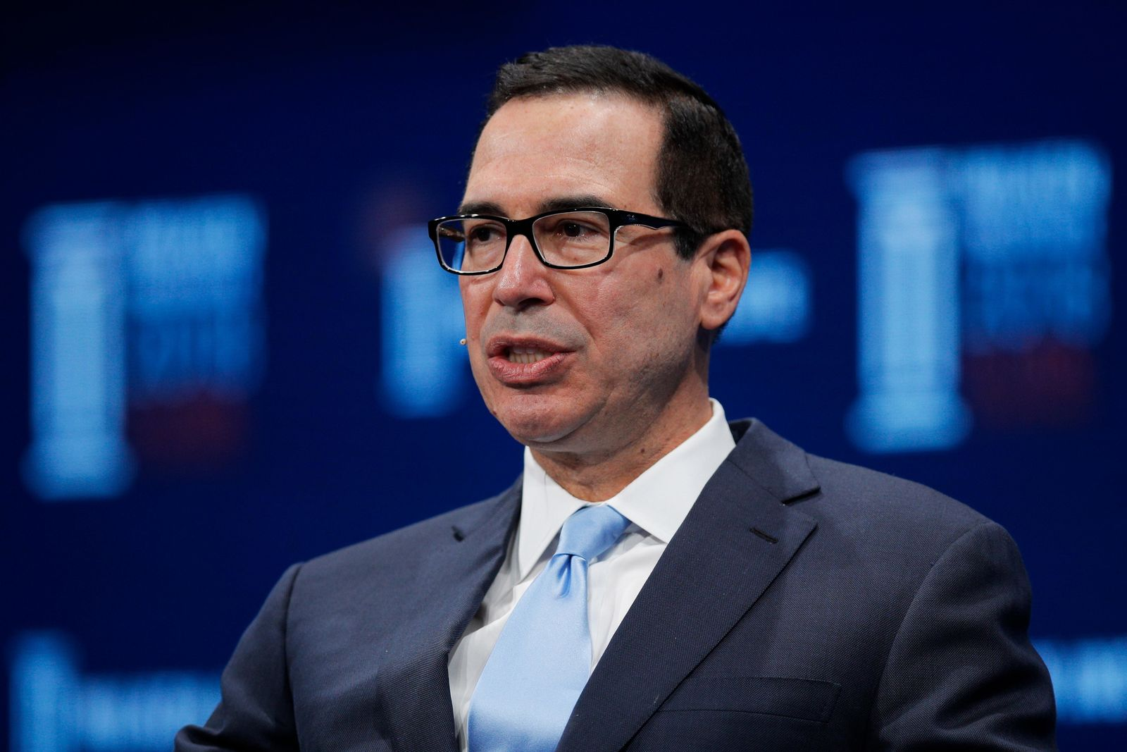 FILE - In this April 30, 2018, file photo, Treasury Secretary Steven Mnuchin speaks during a discussion at the Milken Institute Global Conference, in Beverly Hills, Calif. (AP Photo/Jae C. Hong, File)