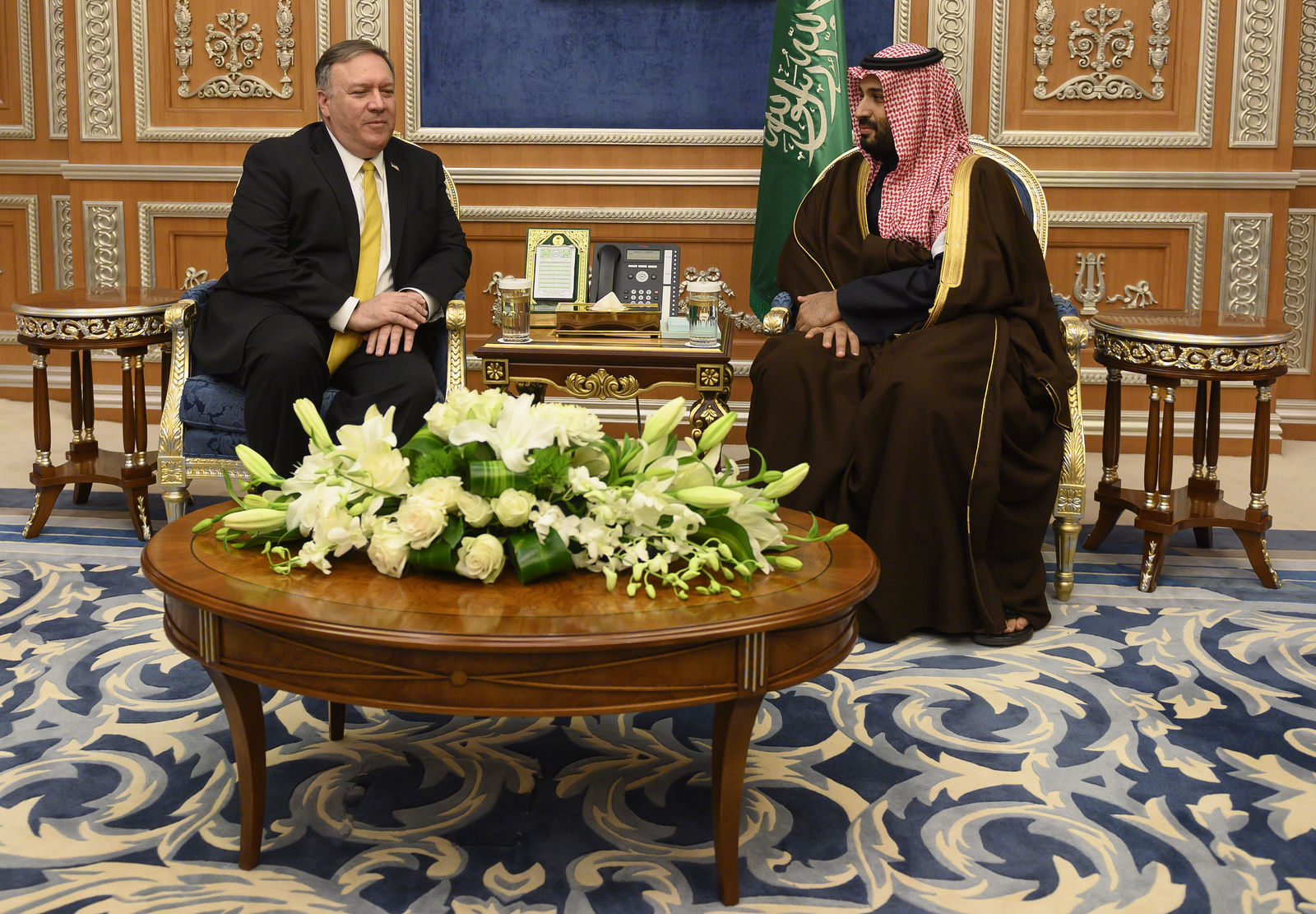 Saudi Crown Prince Mohammed bin Salman, right meets with U.S. Secretary of State Mike Pompeo at the Royal Court, in Riyadh, Monday, January 14, 2019.{ } (Andrew Cabellero-Reynolds/Pool via AP)