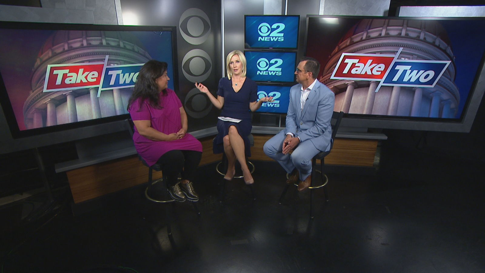Episode 18 of the Take 2 podcast featured 2News Anchor/Reporter Heidi Hatch hosting former Speaker of the House Greg Hughes (R) and guest Maura Carabello of The Exoro Group. (Photo: KUTV)