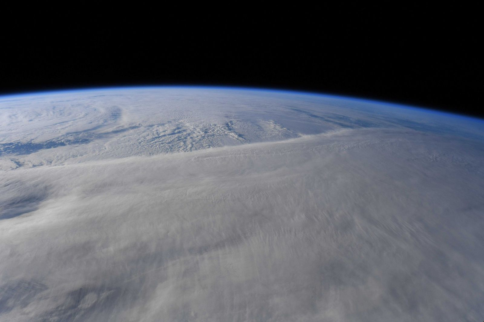 Somewhere underneath this storm is Eastern Canada... (Photo & Caption David Saint-Jacques, NASA)