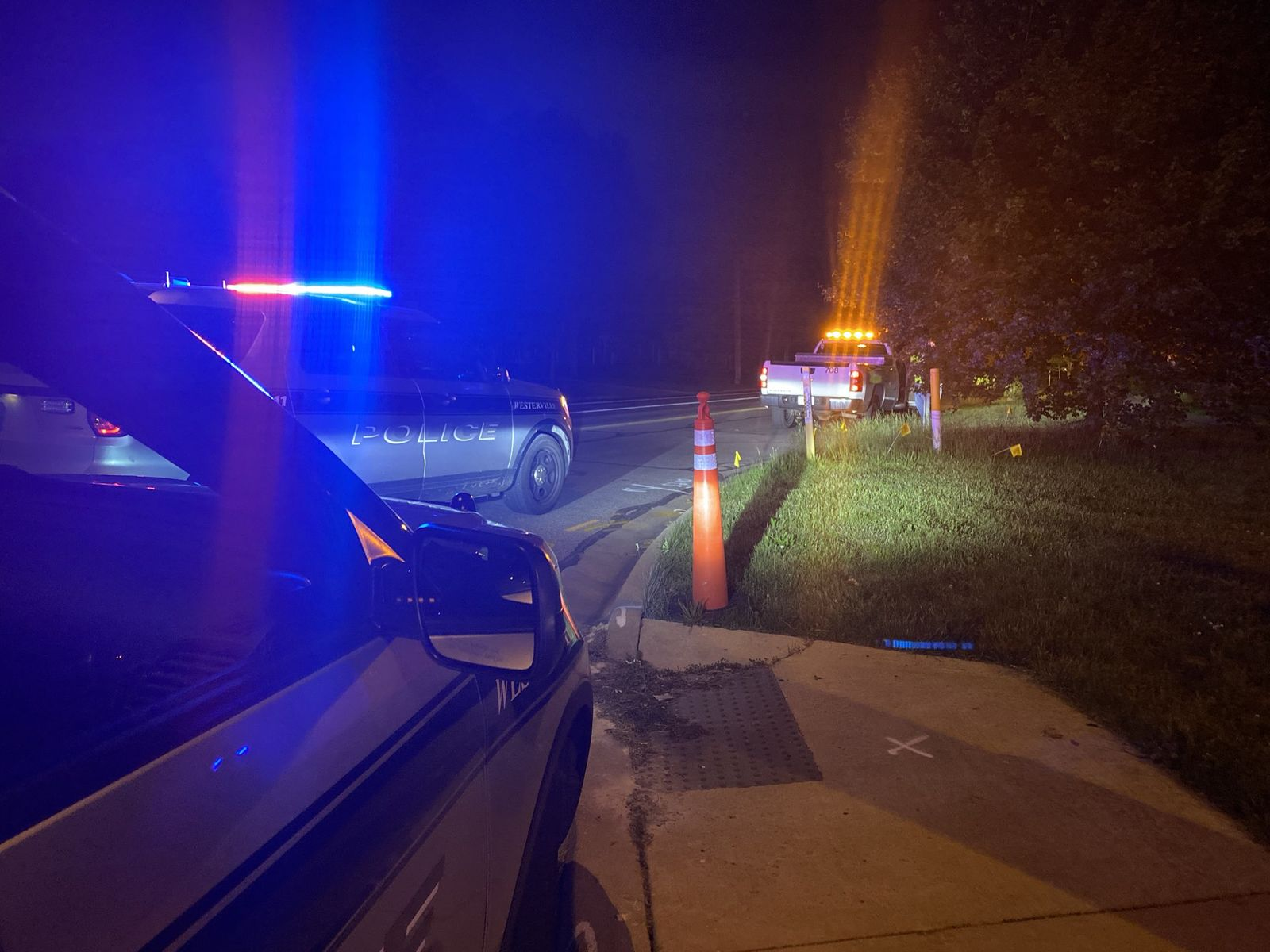<p>Westerville police and members of the Westerville Service Department rescued three ducklings that were stuck in a storm drain Wednesday night. (Westerville Police Department)</p>