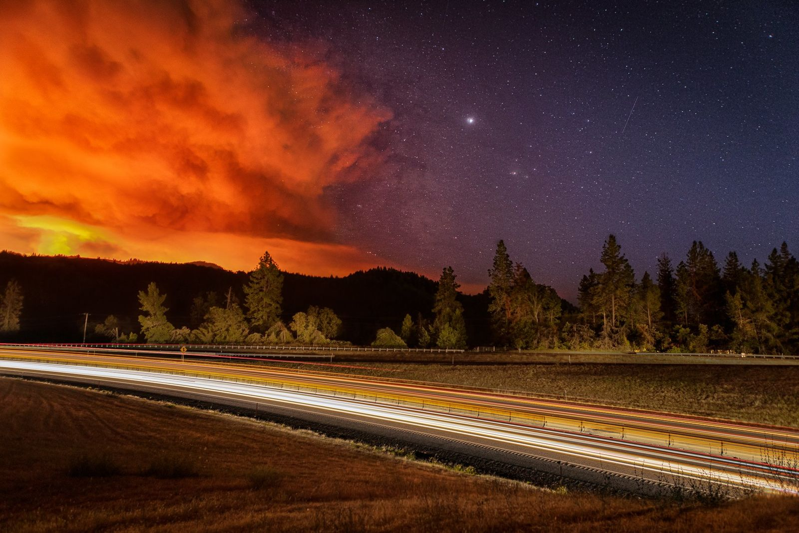 Milepost 97 fire - Photo by Ross Steensland via Oregon Department of Forestry