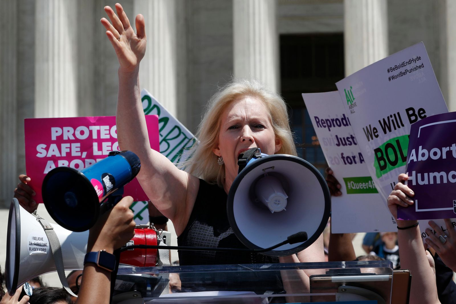 Democratic presidential candidate Sen. Kirsten Gillibrand, D-N.Y., speaks during a protest against abortion bans, Tuesday, May 21, 2019, outside the Supreme Court in Washington. A coalition of dozens of groups held a National Day of Action to Stop the Bans, with other events planned throughout the week. (AP Photo/Jacquelyn Martin)