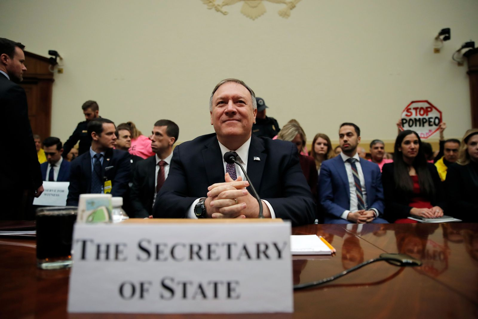 Secretary of State Mike Pompeo arrives to testify during a House Foreign Affairs Committee hearing on Capitol Hill in Washington, Friday, Feb. 28, 2020 (AP Photo/Carolyn Kaster)