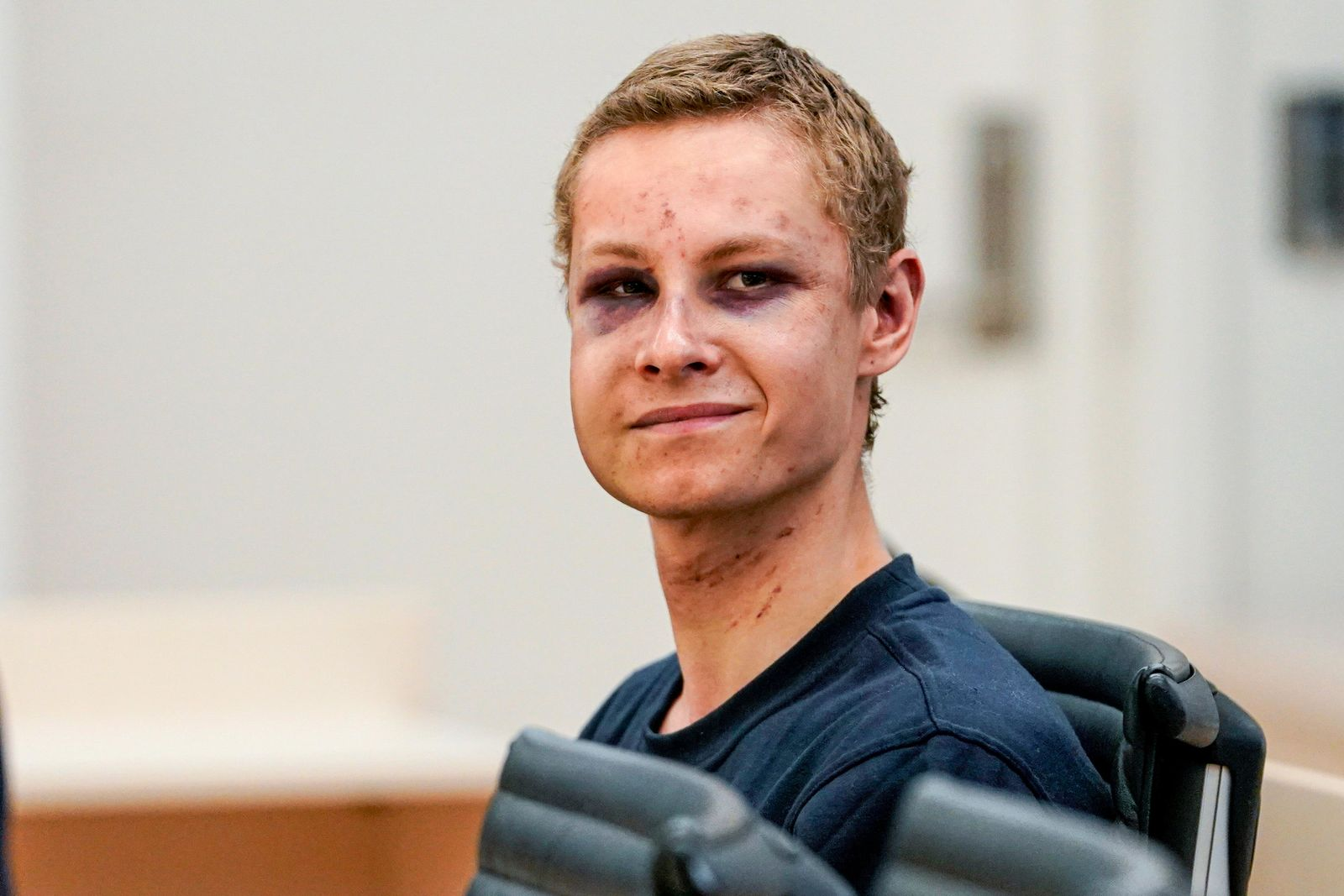 Suspected gunman Philip Manshaus appears in court, in Oslo, Norway, Monday, Aug. 12, 2019. (Cornelius Poppen, NTB scanpix via AP)