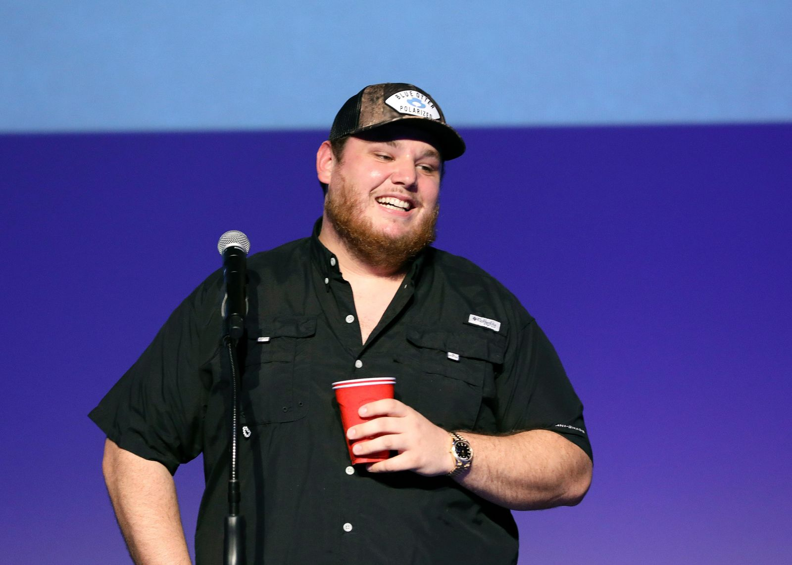 "Luke Combs speaks at ""Luke Combs Joins the Grand Ole Opry Family,"" at Grand Ole Opry, Tuesday, July 16, 2019, in Nashville, Tenn. (Photo by Al Wagner/Invision/AP)"