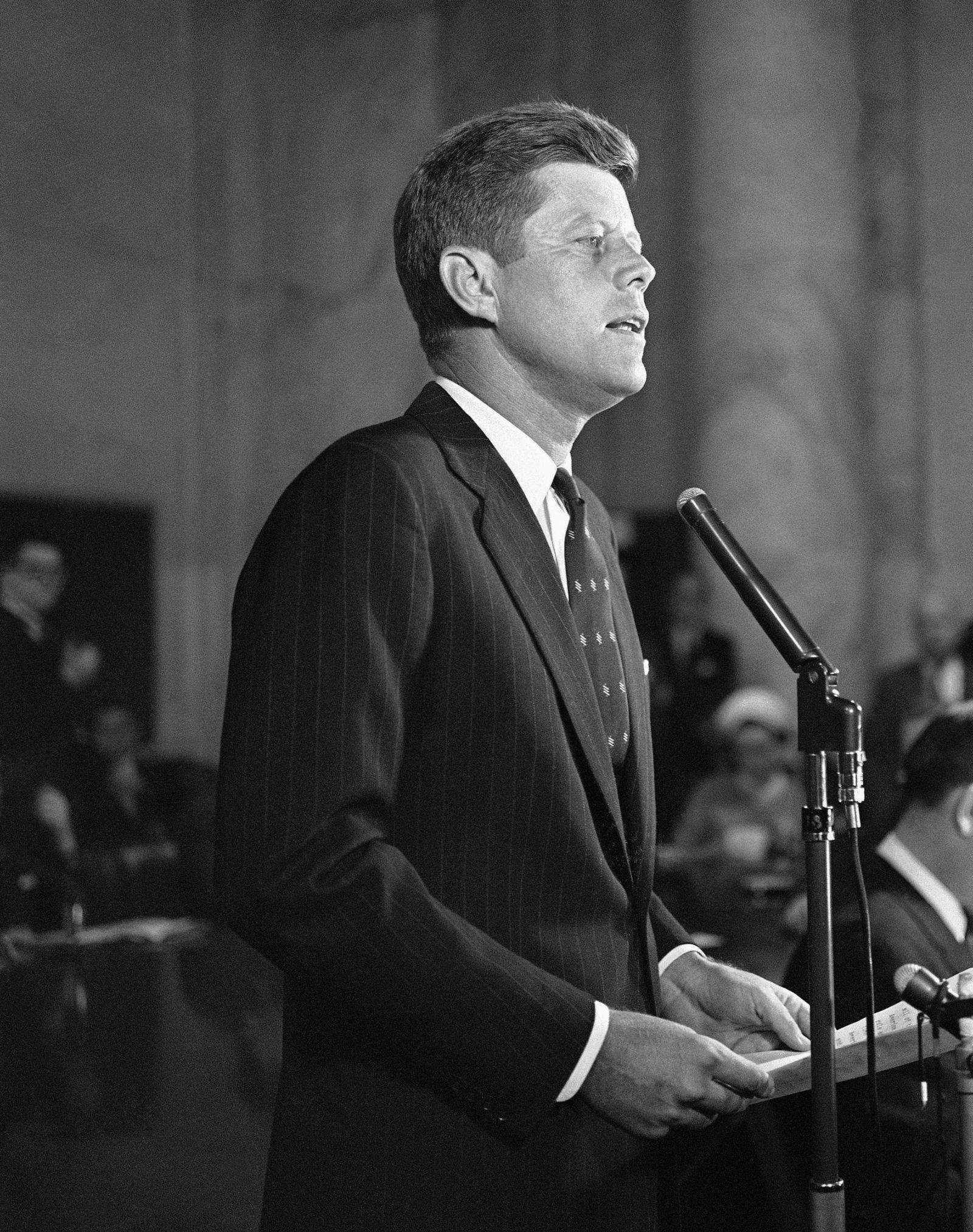 FILE - In this Jan. 2, 1960, file photo, Sen. John F. Kennedy, D-Mass., formally announces at a news conference in Washington that he is a candidate for the Democratic presidential nomination.{ } (AP Photo, File)