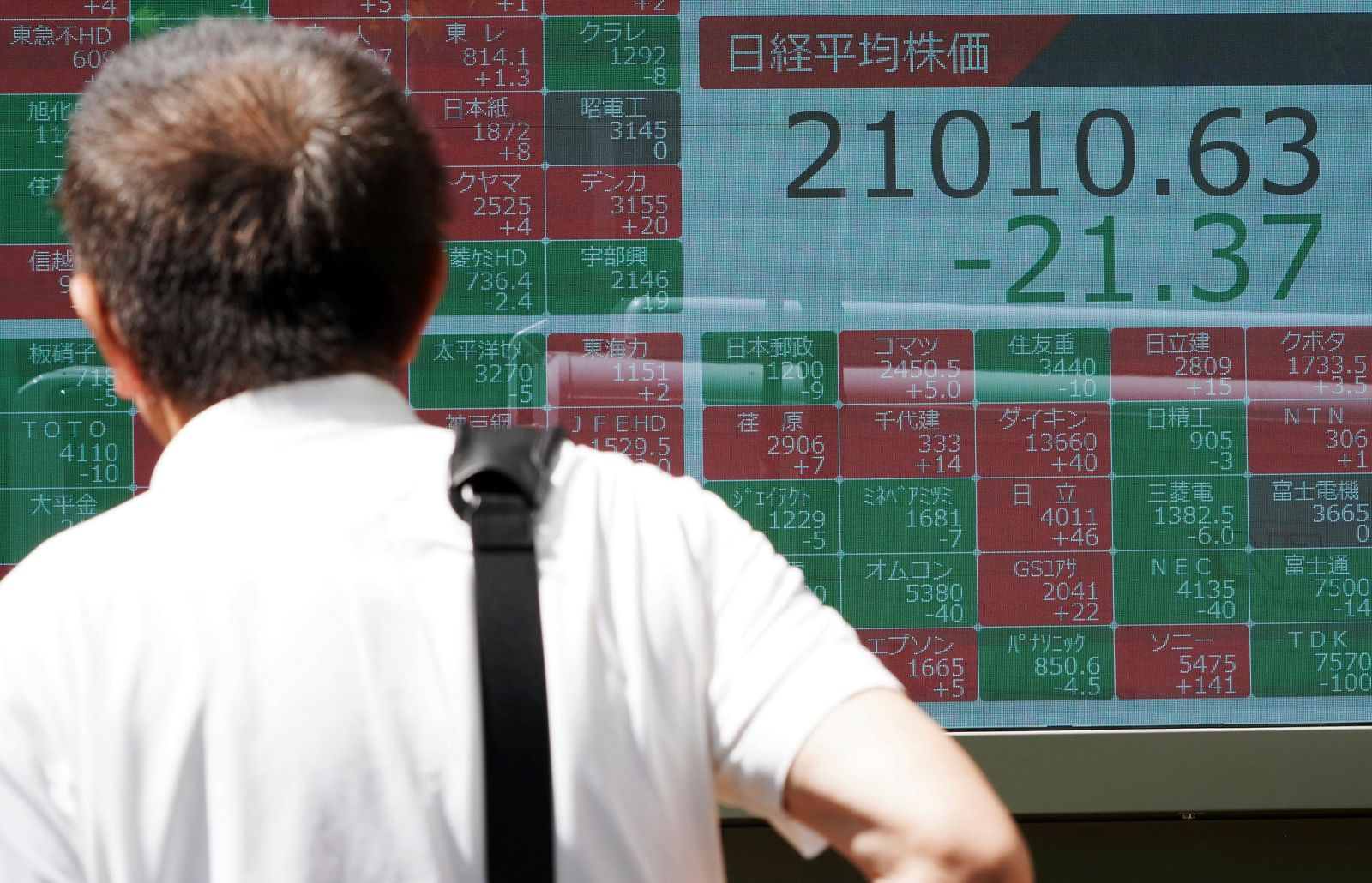 A man looks at an electronic stock board showing Japan's Nikkei 225 index at a securities firm in Tokyo Friday, June 14, 2019.{ } (AP Photo/Eugene Hoshiko)