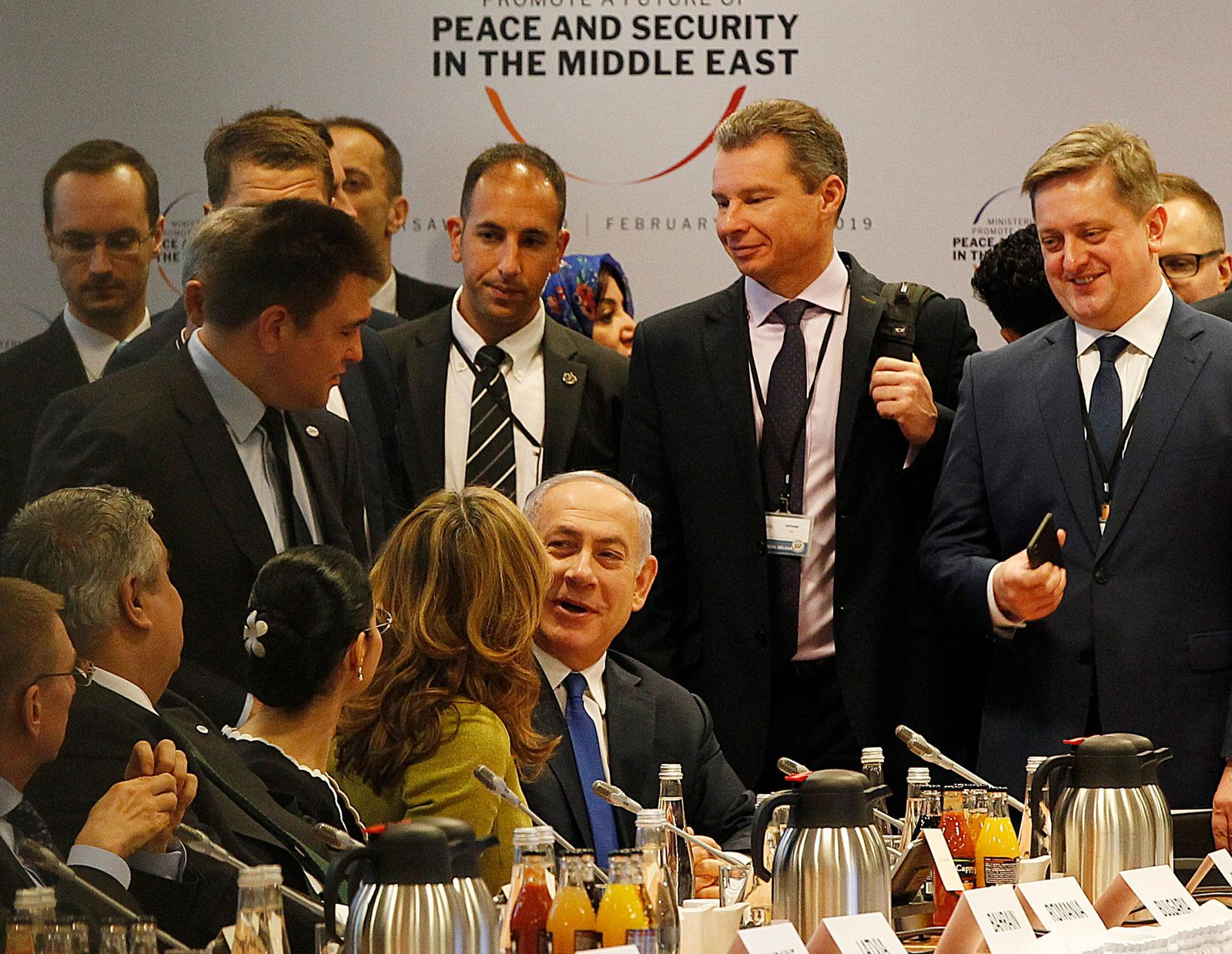 Israeli Prime Minister Benjamin Netanyahu, center, arrives for a session at the conference on Peace and Security in the Middle east in Warsaw, Poland, Thursday, Feb. 14, 2019. (AP Photo/Czarek Sokolowski)