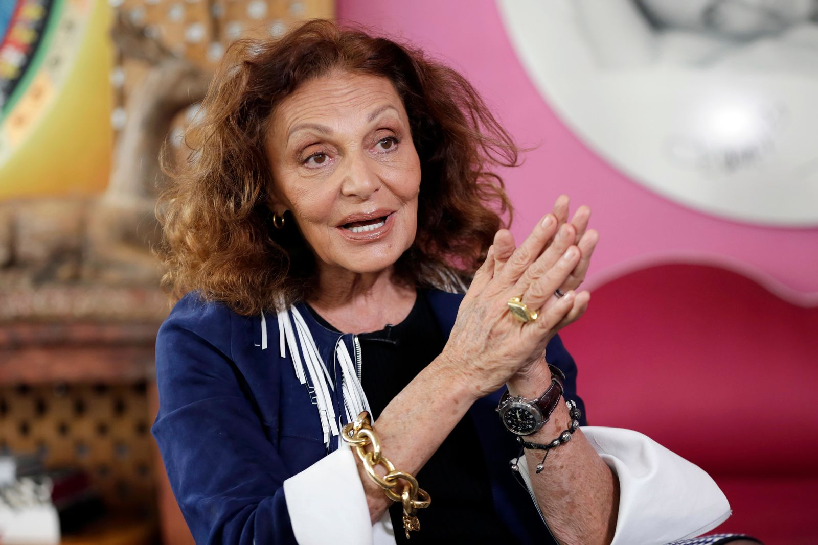 FILE - In this June 19, 2017, file photo, designer Diane von Furstenberg speaks during an interview in her office in New York's Meat Packing District. On Sept. 14, 2019, von Furstenberg joins nine other people who will be indicted into the National Women's Hall of Fame. (AP Photo/Richard Drew, File)