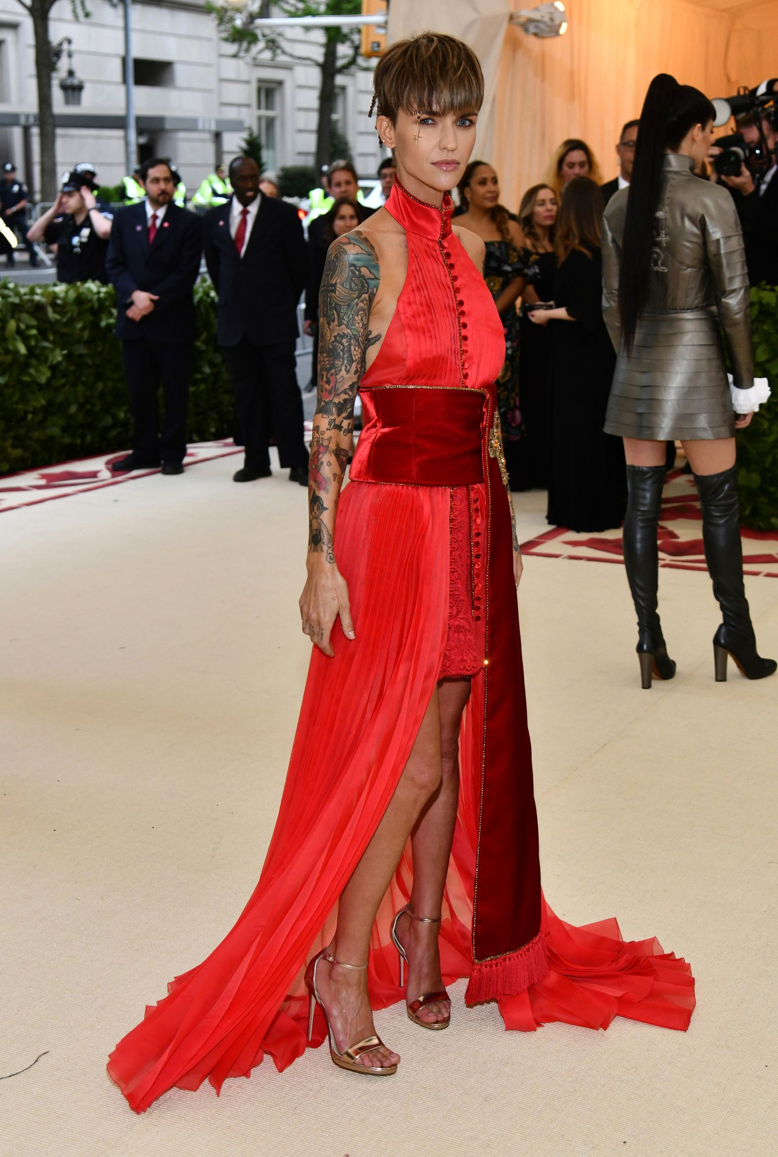 Ruby Rose attends The Metropolitan Museum of Art's Costume Institute benefit gala celebrating the opening of the Heavenly Bodies: Fashion and the Catholic Imagination exhibition in New York. (Photo by Charles Sykes/Invision/AP)