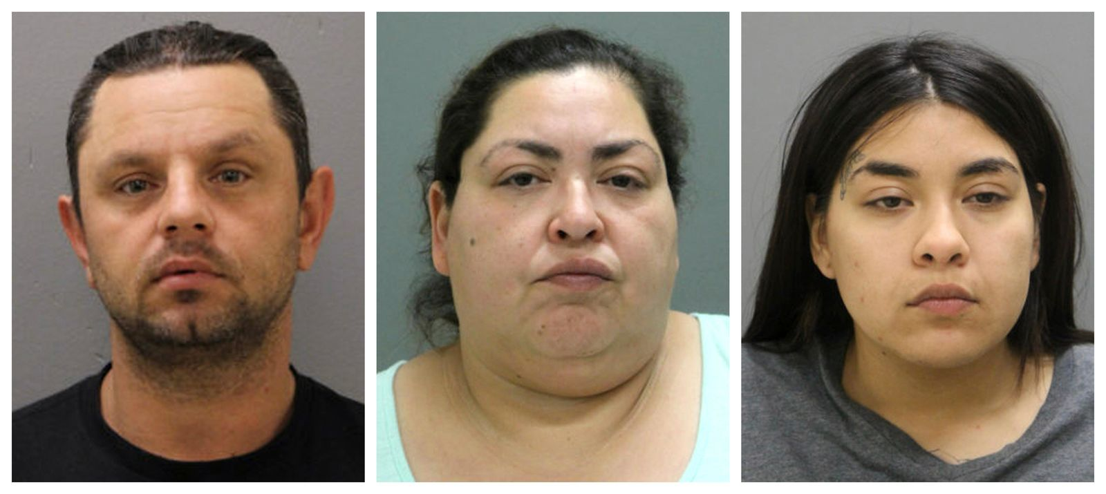 This combination of booking photos provided by the Chicago Police Department on Thursday, May 16, 2019 shows from left, Pioter Bobak, 40; Clarisa Figueroa, 46; and Desiree Figueroa, 24. (Chicago Police Department via AP)