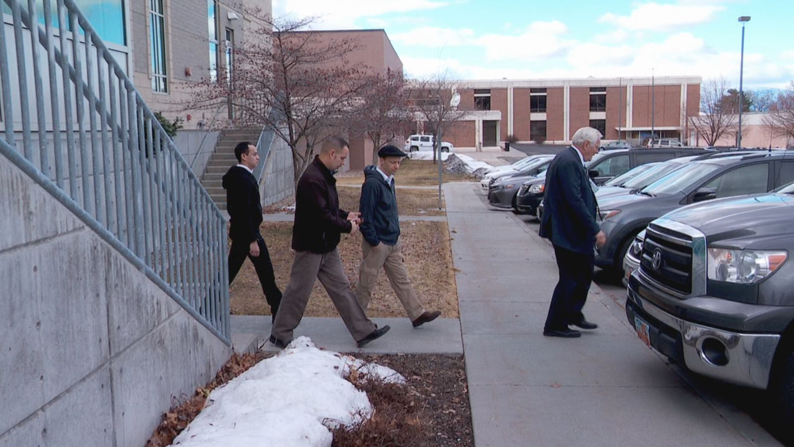 CJ Haynie's father Colin Haynie was seen leaving district court in Tooele County on Monday, Jan. 27, 2020 after his son's first court hearing. CJ Haynie is accused of the murders of his mother and three younger siblings, as well as the attempted murder of his father. (Jeremy Castellano / KUTV)<p></p>