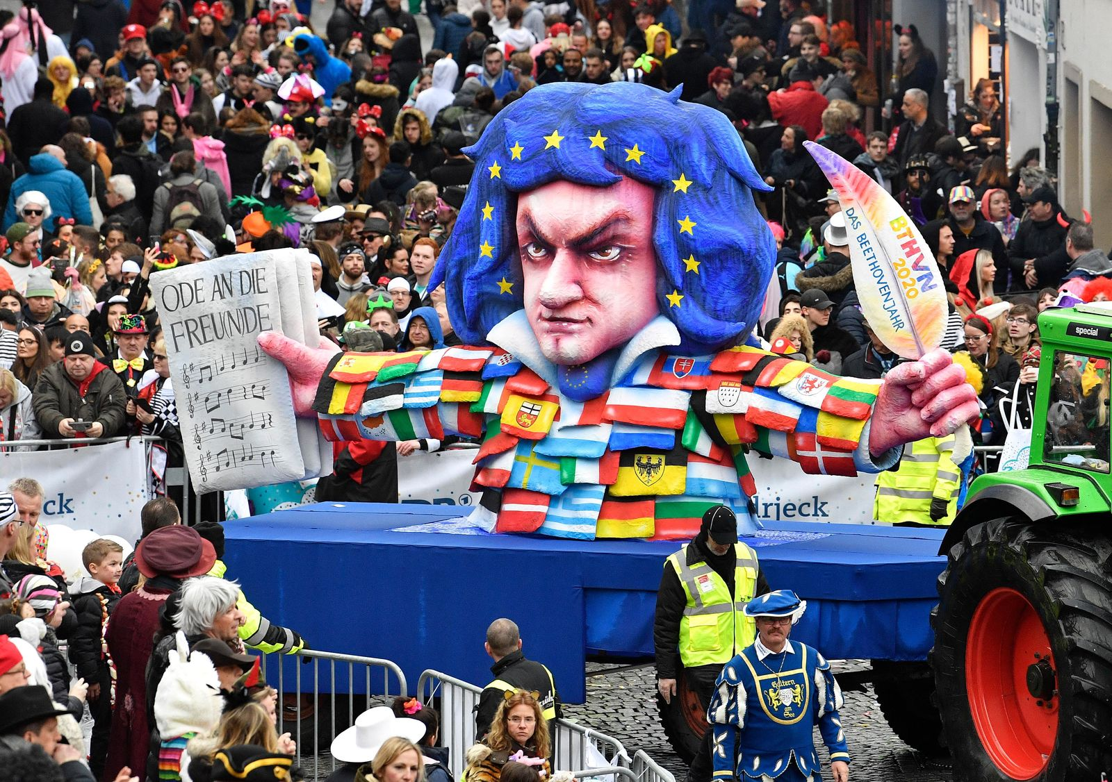 A carnival float depicts the 250th birthday of composer Ludwig van Beethoven during the traditional carnival parade in Duesseldorf, Germany, on Monday, Feb. 24, 2020. The foolish street spectacles in the carnival centers of Duesseldorf, Mainz and Cologne, watched by hundreds of thousands of people, are the highlights in Germany's carnival season on Rosemonday. (AP Photo/Martin Meissner)