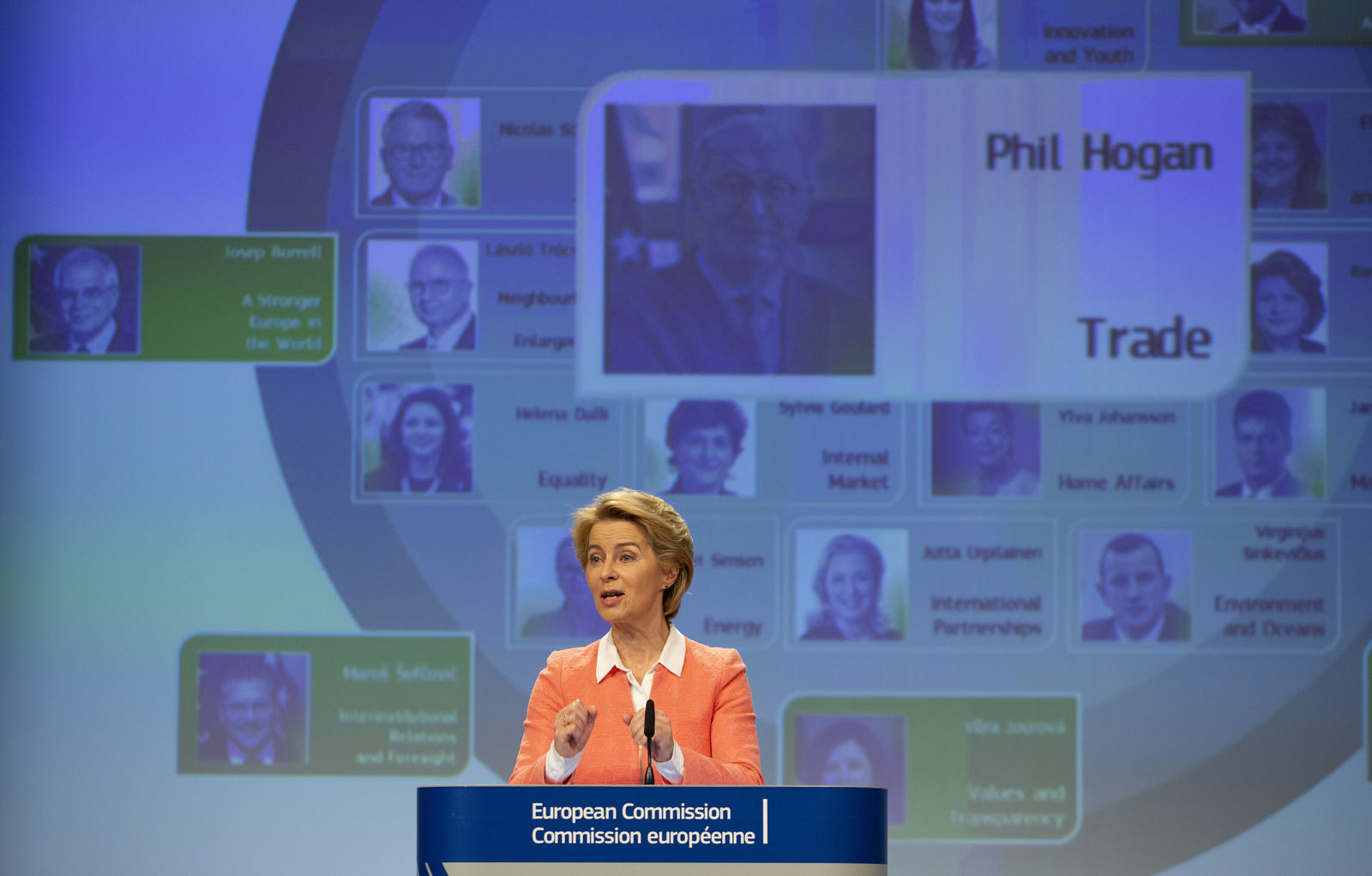 Incoming European Commission President Ursula von der Leyen announces Ireland's Phil Hogan as candidate for EU Trade Commissioner during a media conference at EU headquarters in Brussels, Tuesday, Sept. 10, 2019. (AP Photo/Virginia Mayo)