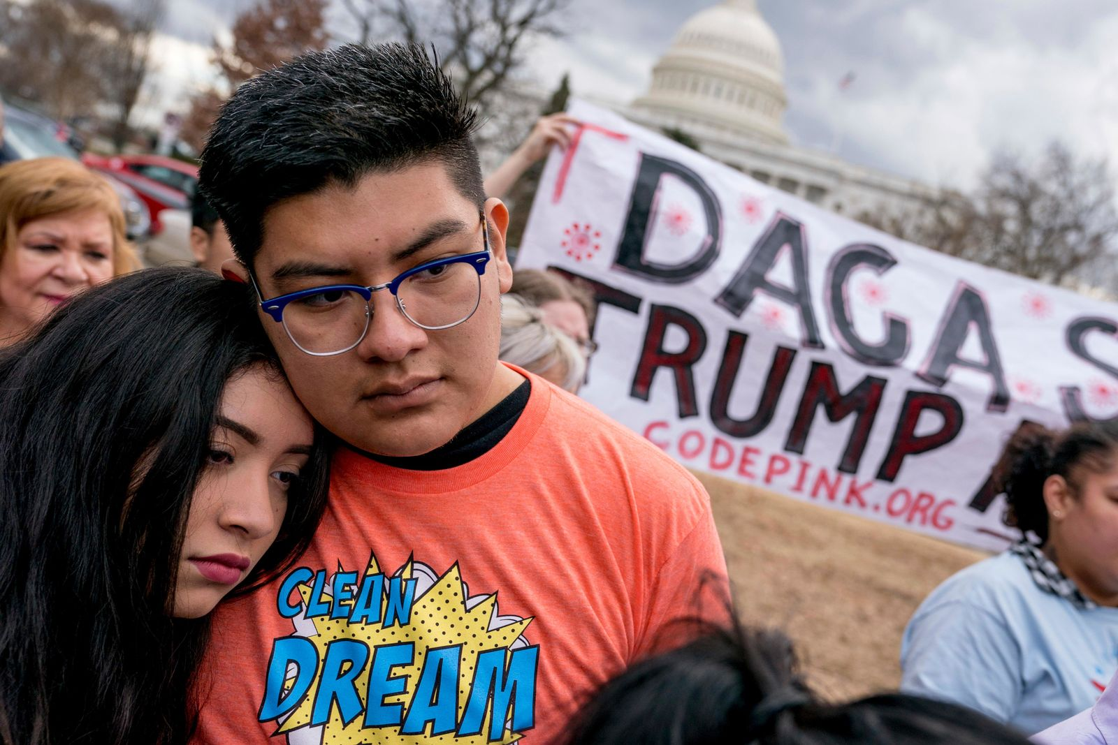 FILE - In this Jan. 23, 2018, file photo, immigration advocates hold a rally on Capitol Hill in Washington. (AP Photo/Andrew Harnik, File)
